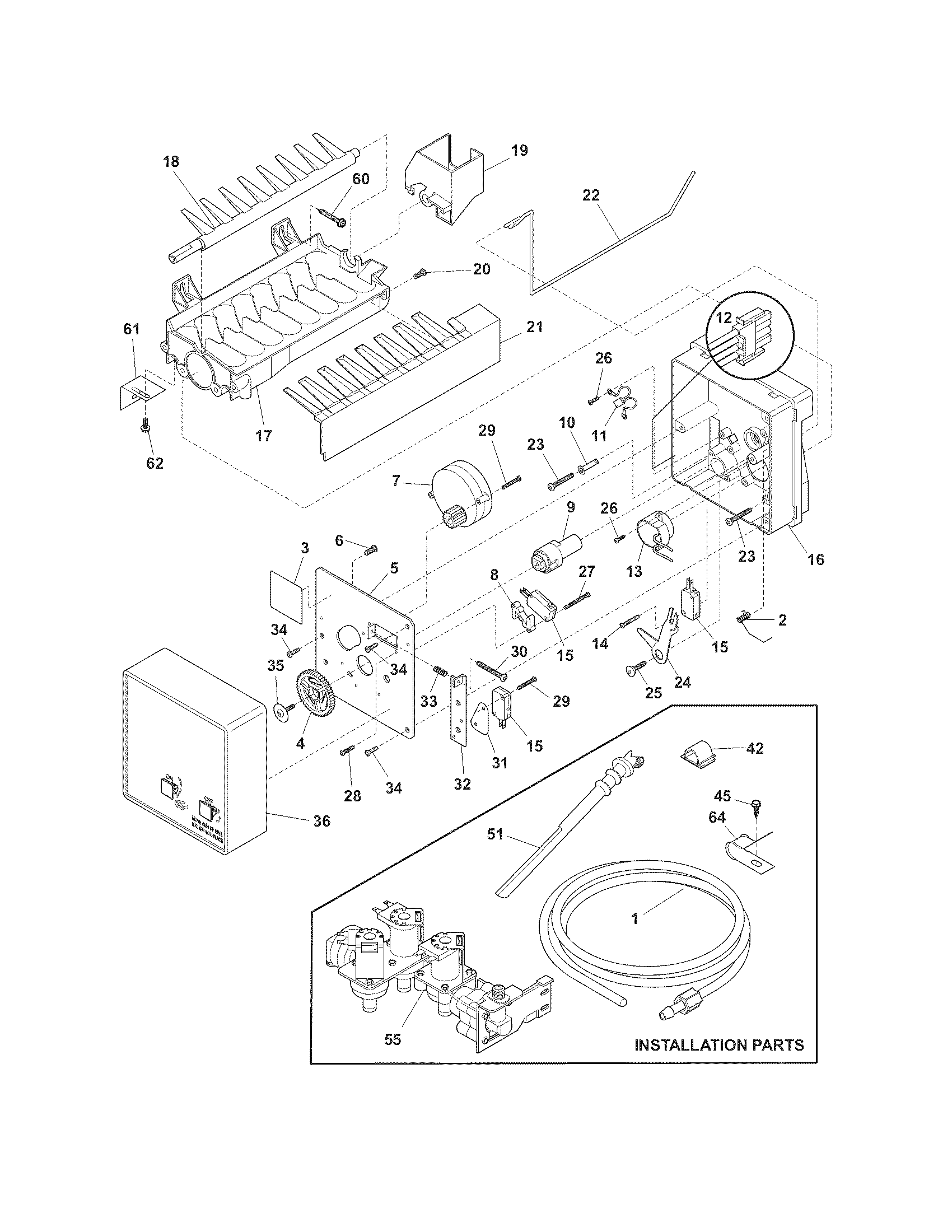 Frigidaire DGHS2644KF3 ice maker diagram