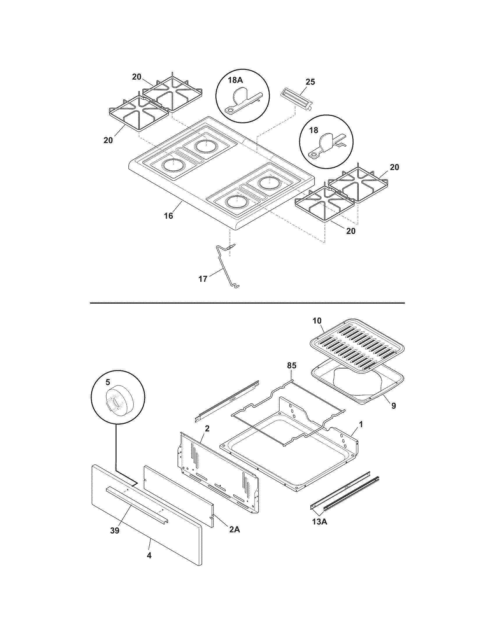 White-Westinghouse  Gas Range  Top/drawer