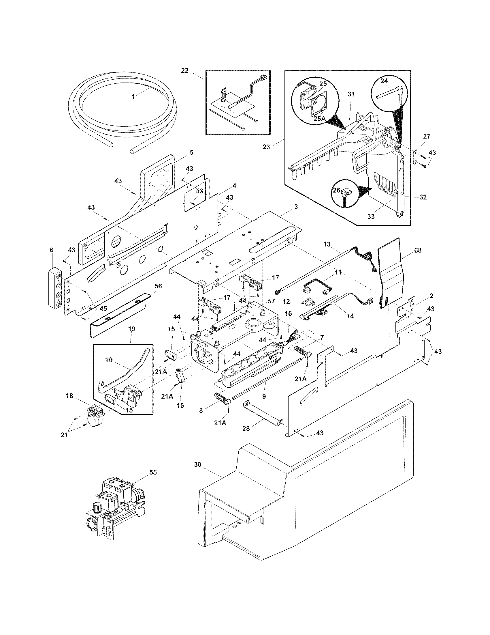 Electrolux EI28BS56IS8 ice maker diagram