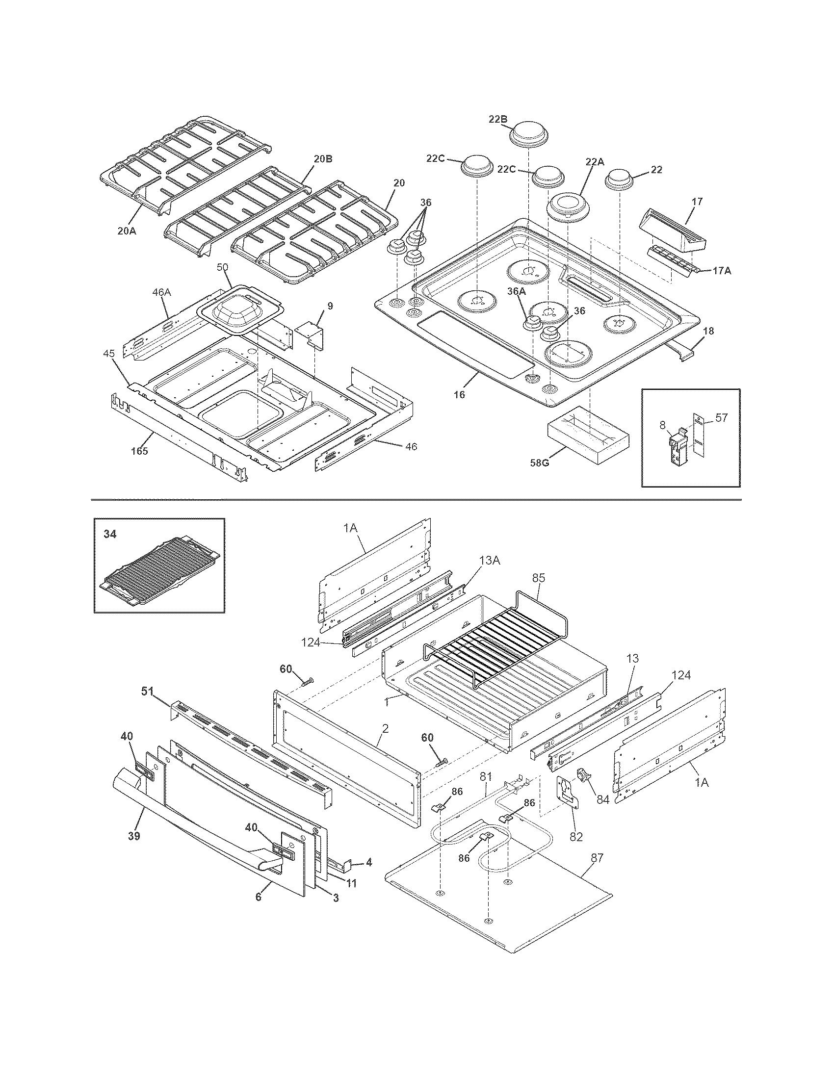 Electrolux  Gas Range  Top/drawer