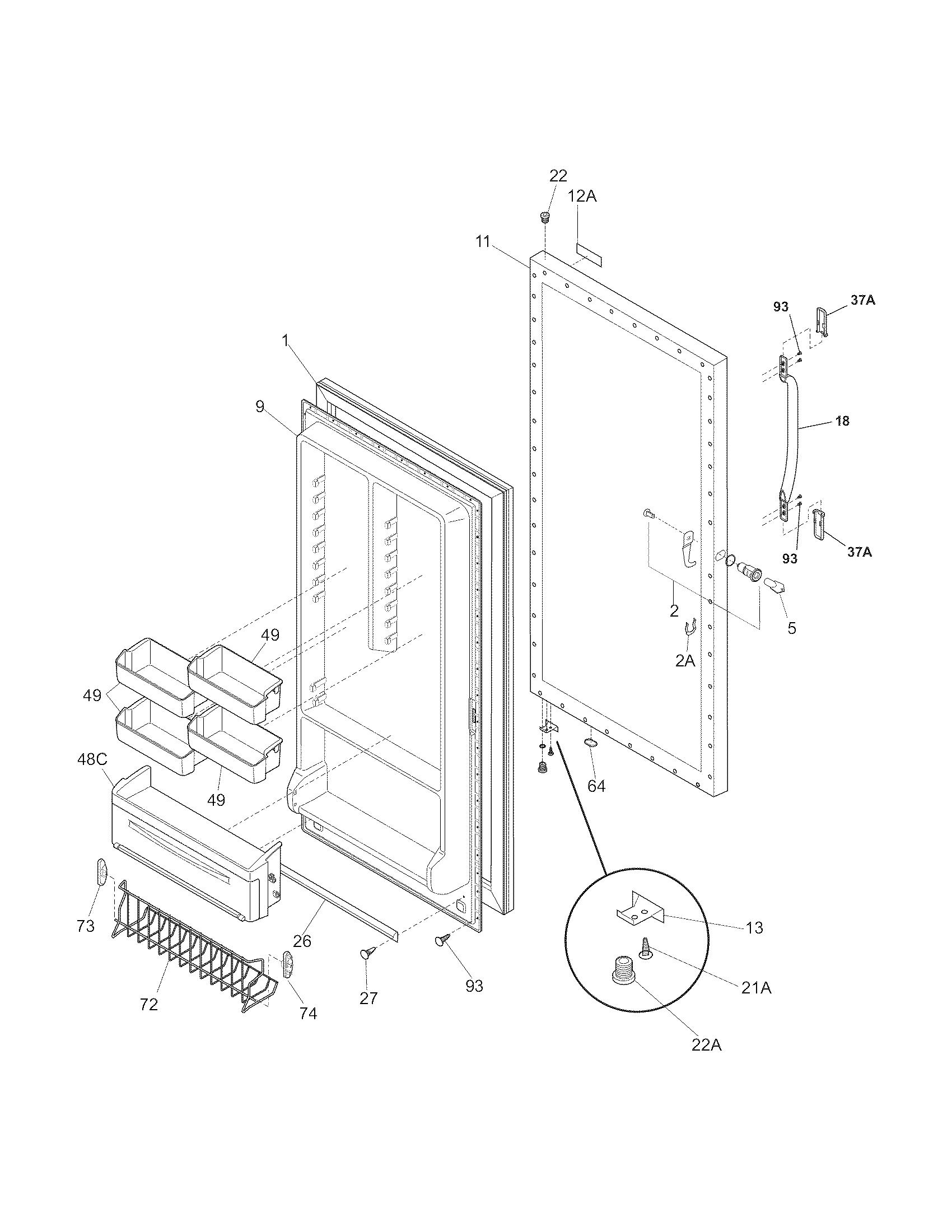 Kelvinator  Freezer  Door