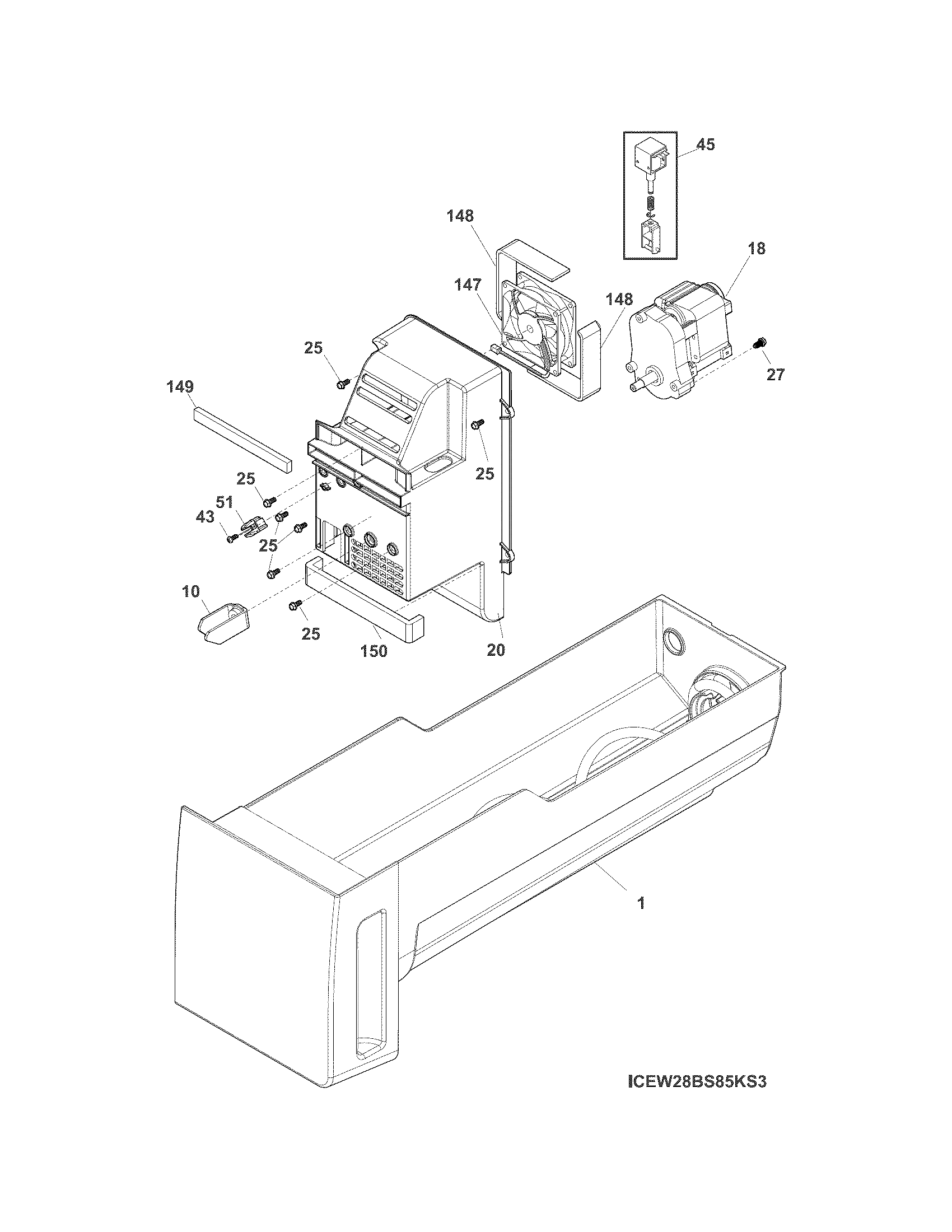 Frigidaire  Refrigerator  Ice container