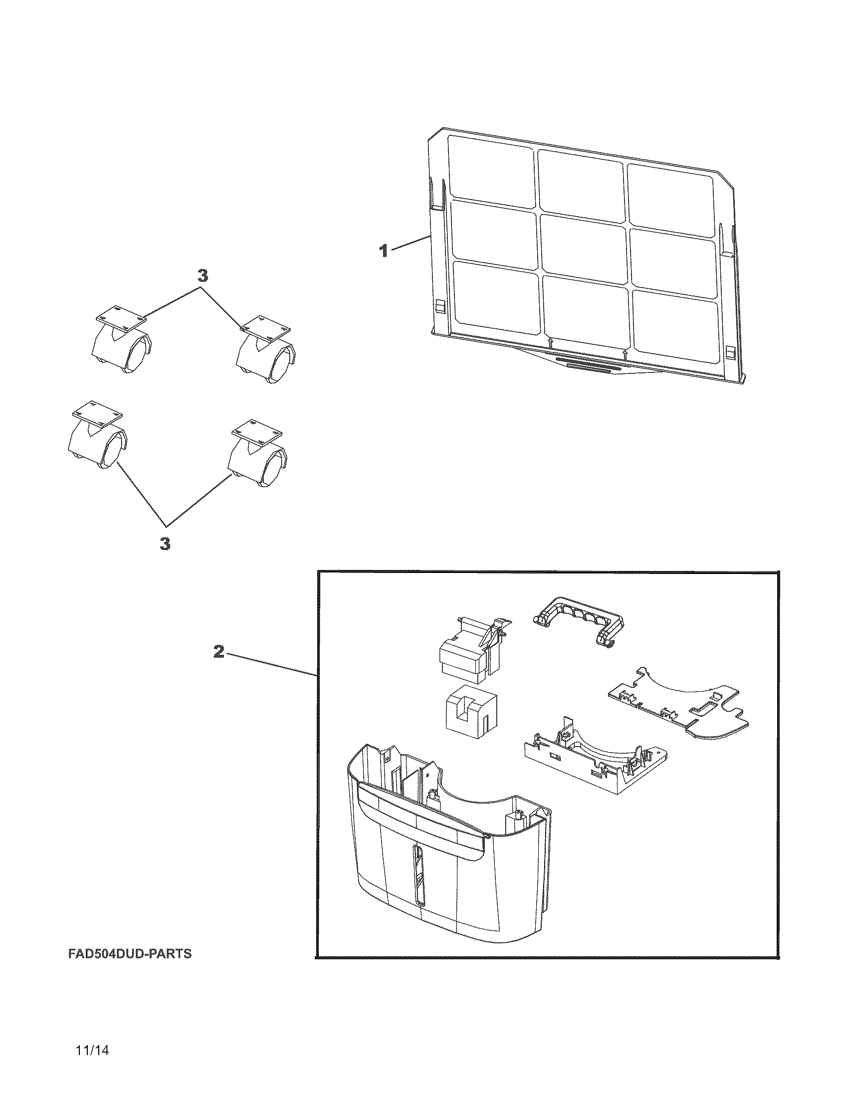 Frigidaire FAD704DWA10 recommended spare parts diagram
