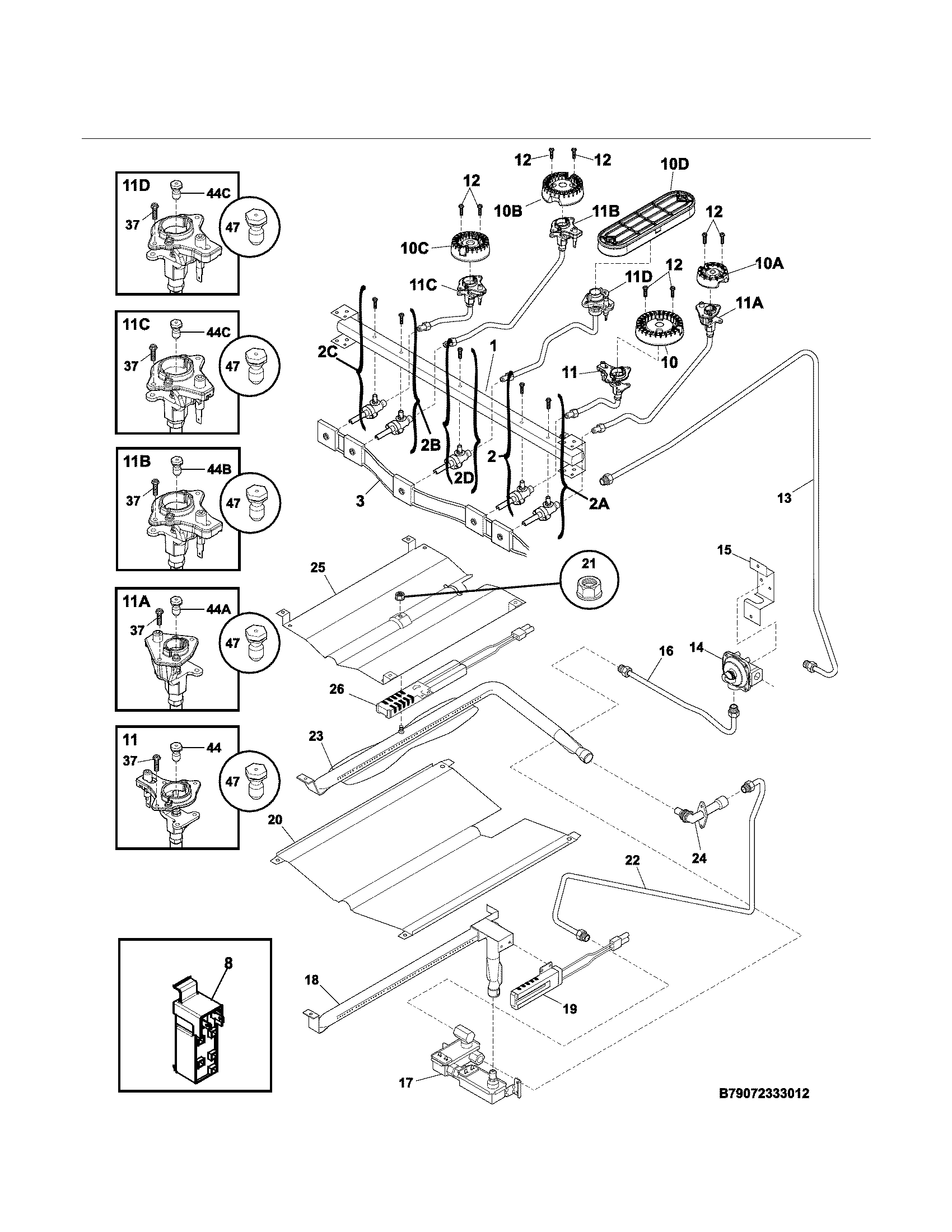 Kenmore 79074233311 burner diagram