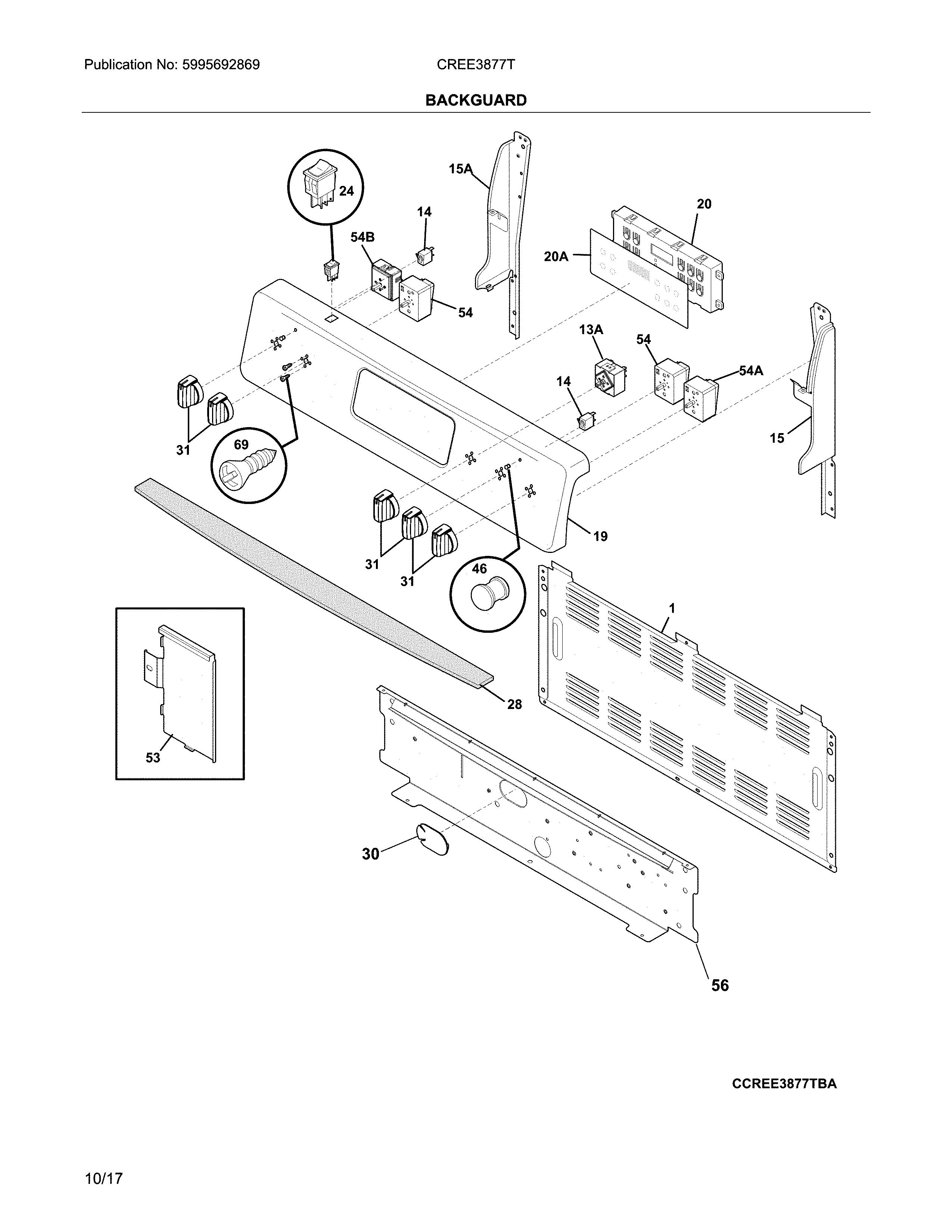 Crosley  Electric Range  Backguard