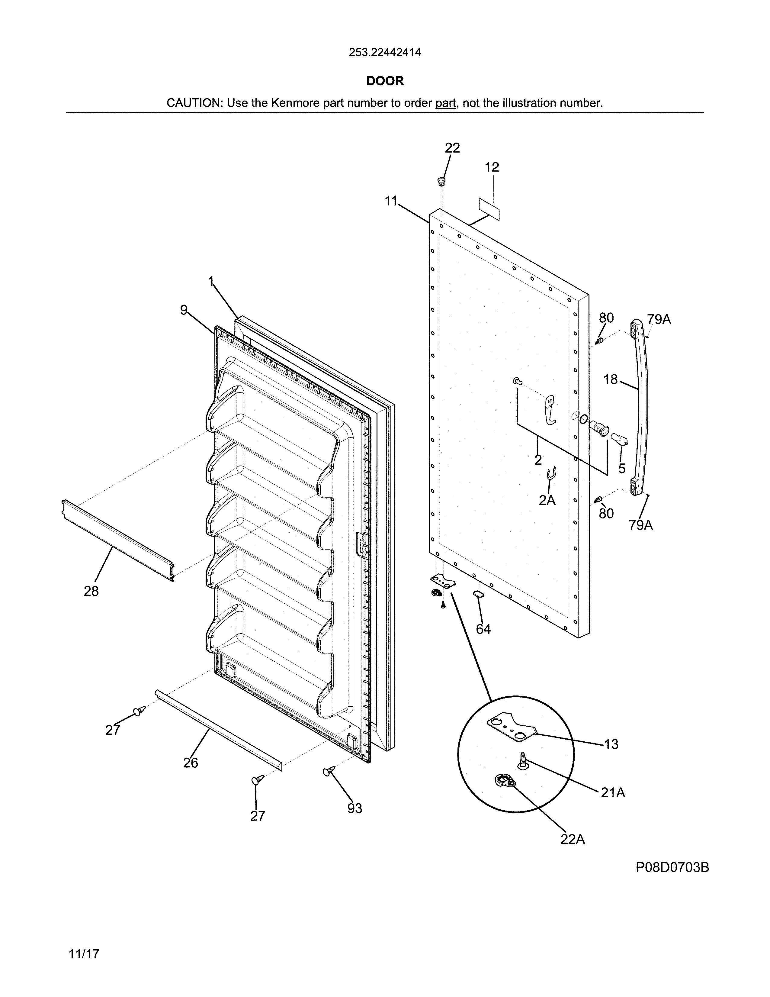 Kenmore 25322442414 door diagram