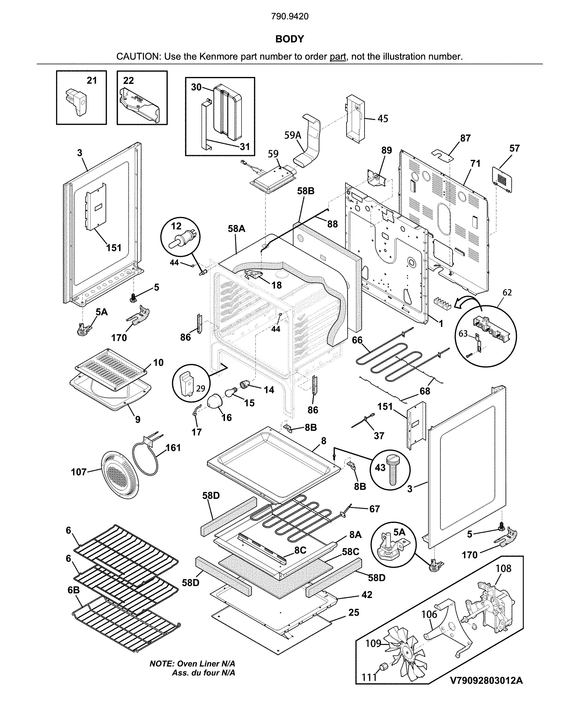 Kenmore  Electric Range  Body