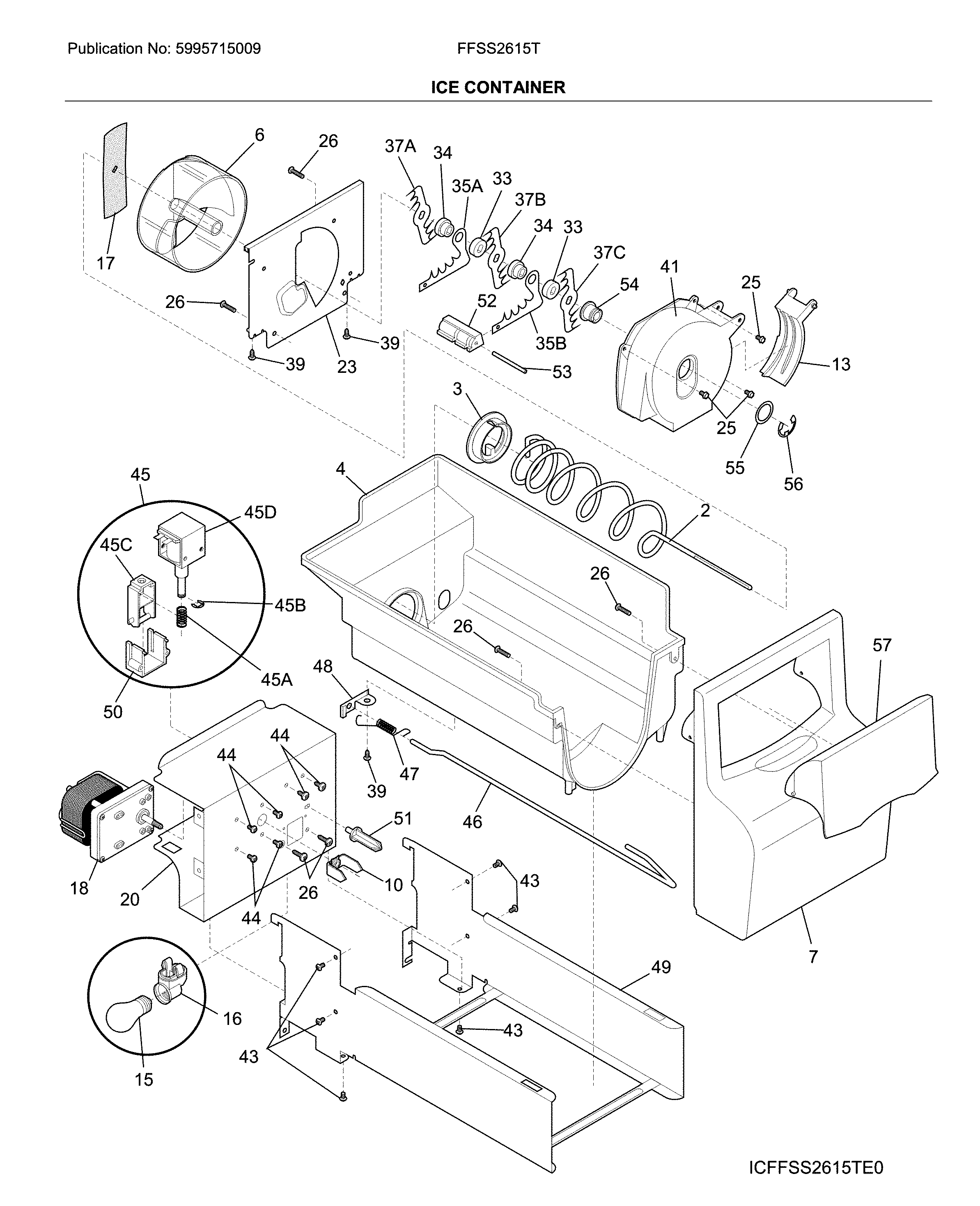 Frigidaire FFSS2615TS1 ice container diagram