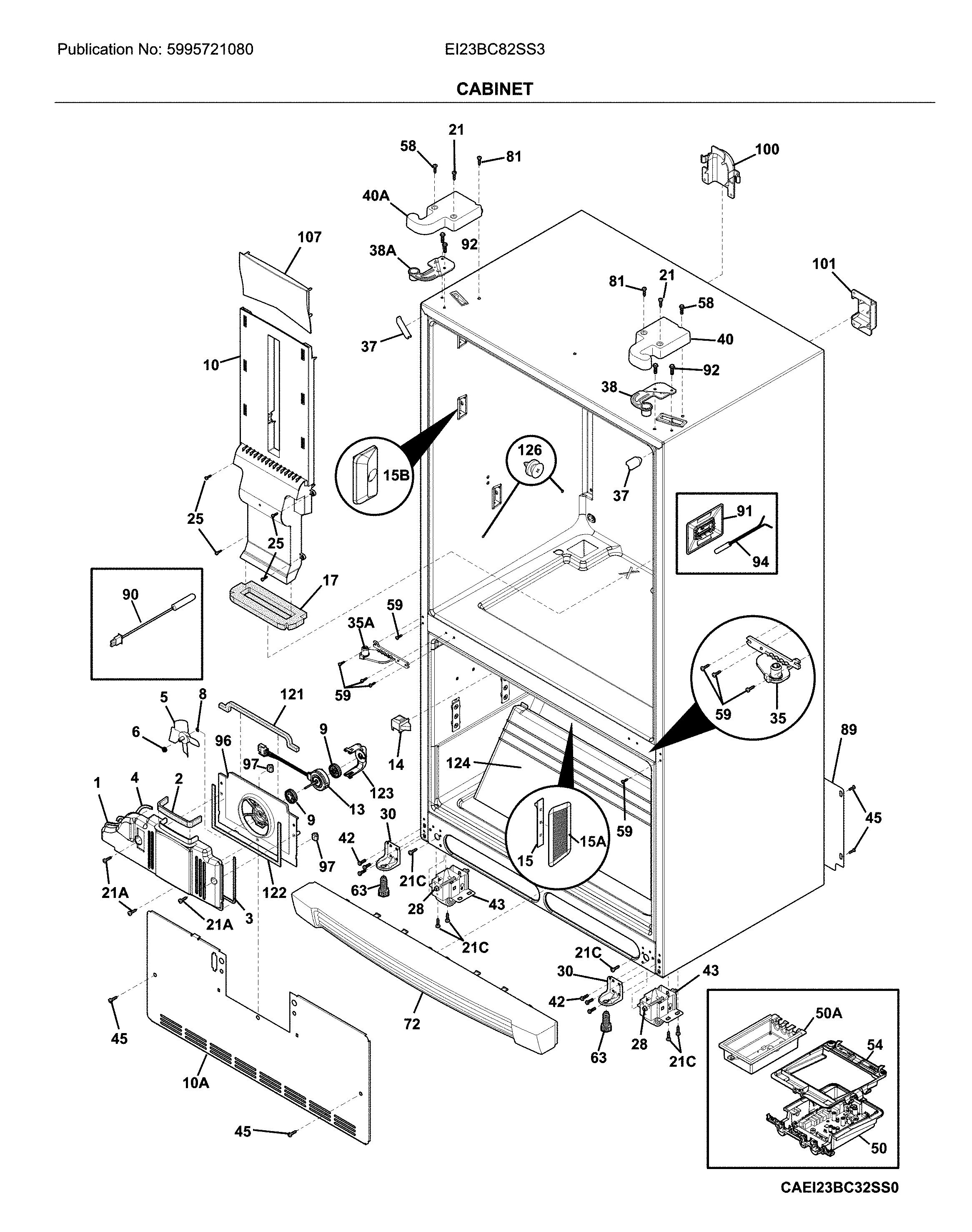 Electrolux  Bottom Mount Refrigerator   Parts