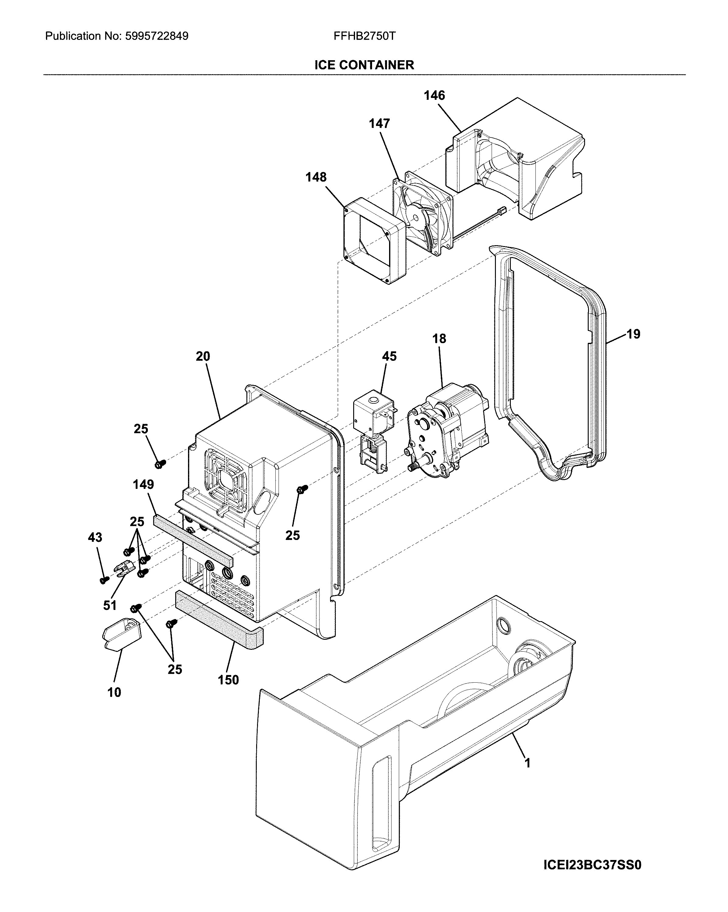 Frigidaire FFHB2750TS0 ice container diagram