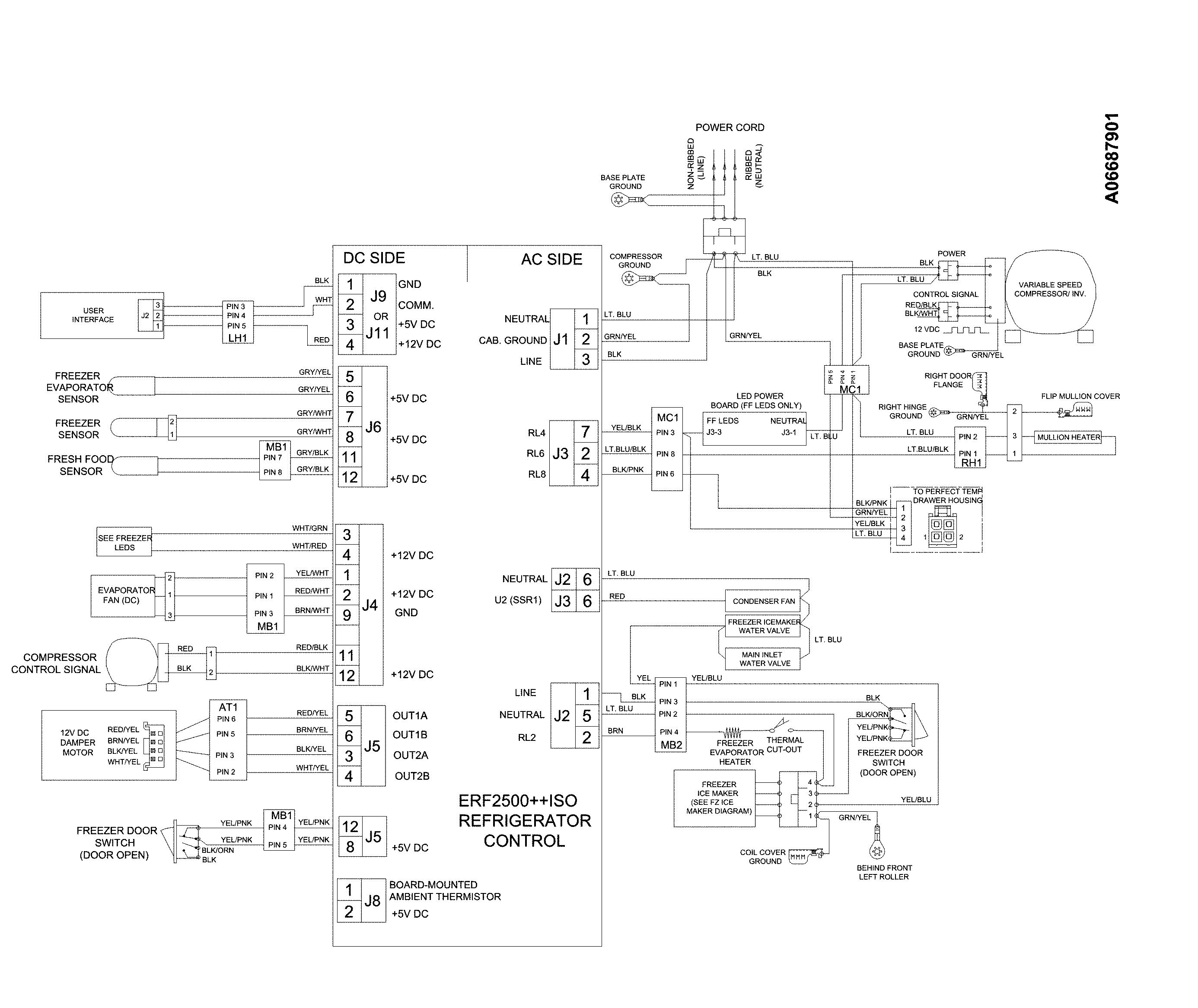Electrolux  Bottom Mount Refrigerator  Wiring schematic