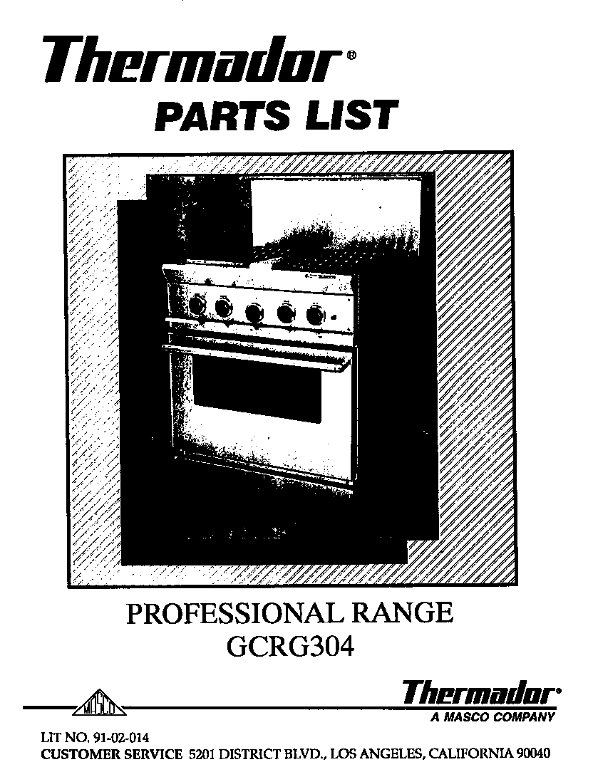 Thermador  Slide-In Gas Range  Cover page-text only