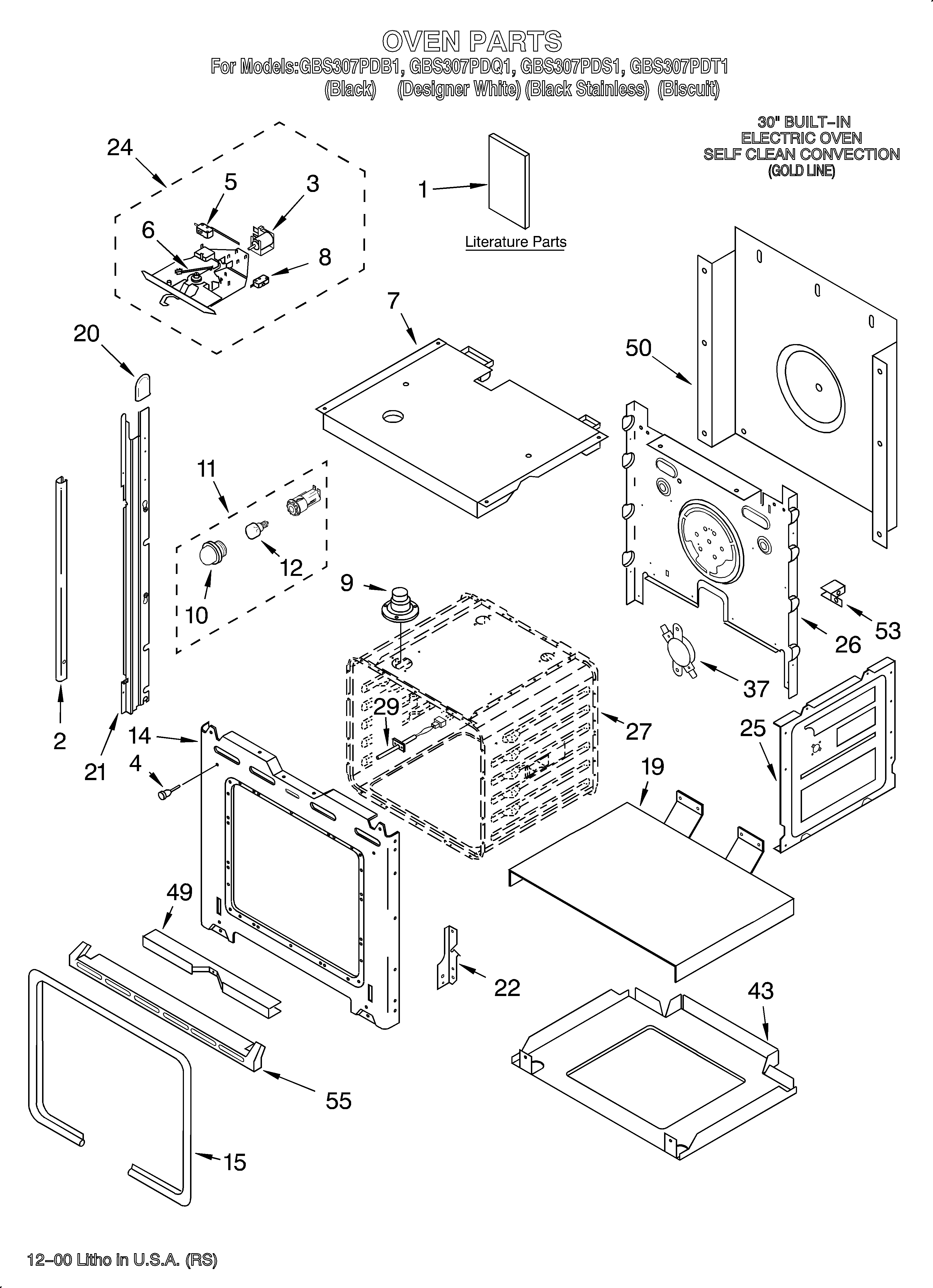Whirlpool GBS307PDB1 oven/literature diagram
