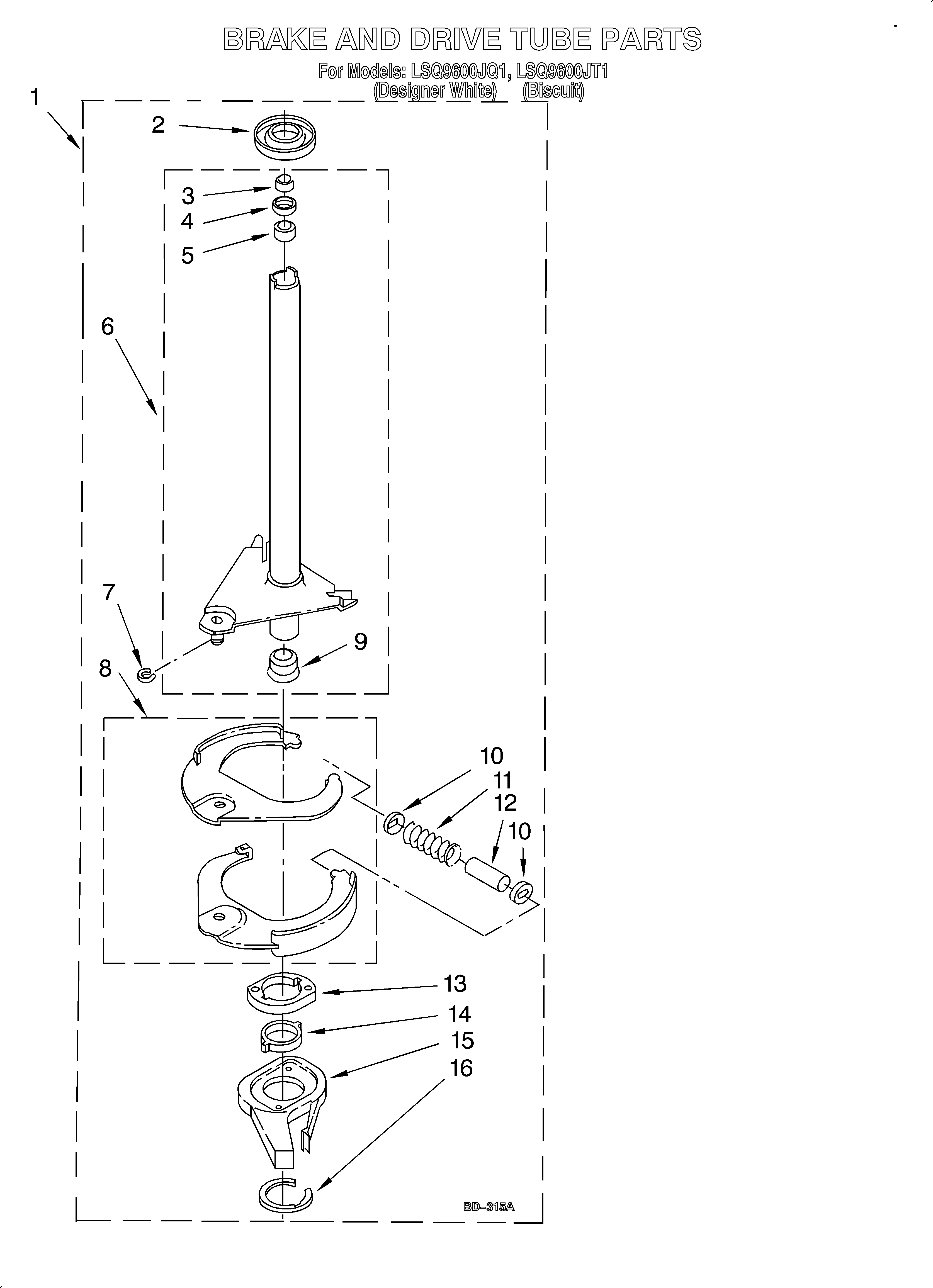 Whirlpool LSQ9600JT1 brake and drive tube diagram