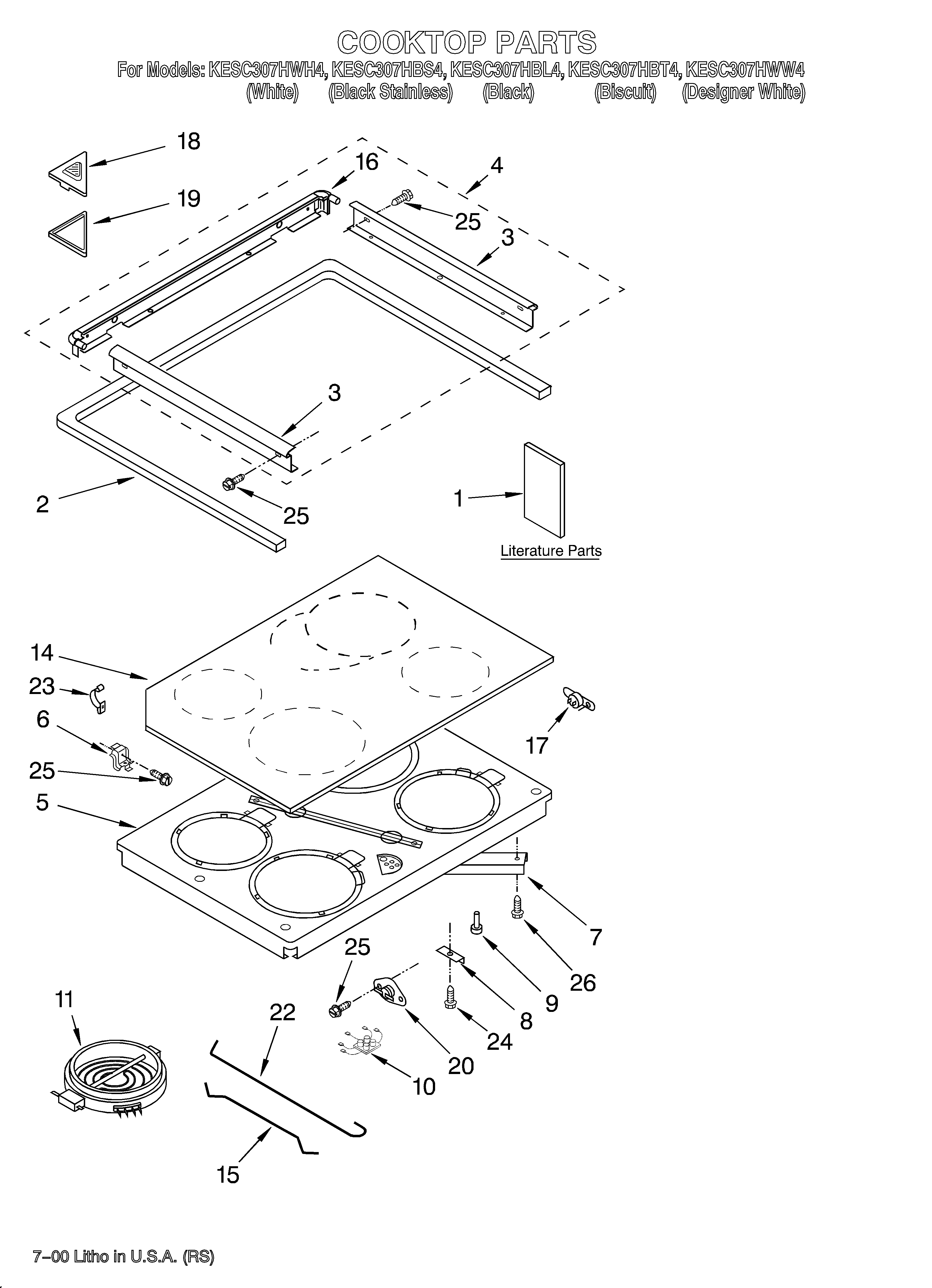 kitchenaid kesc307hwh4 cooktop/literature diagram