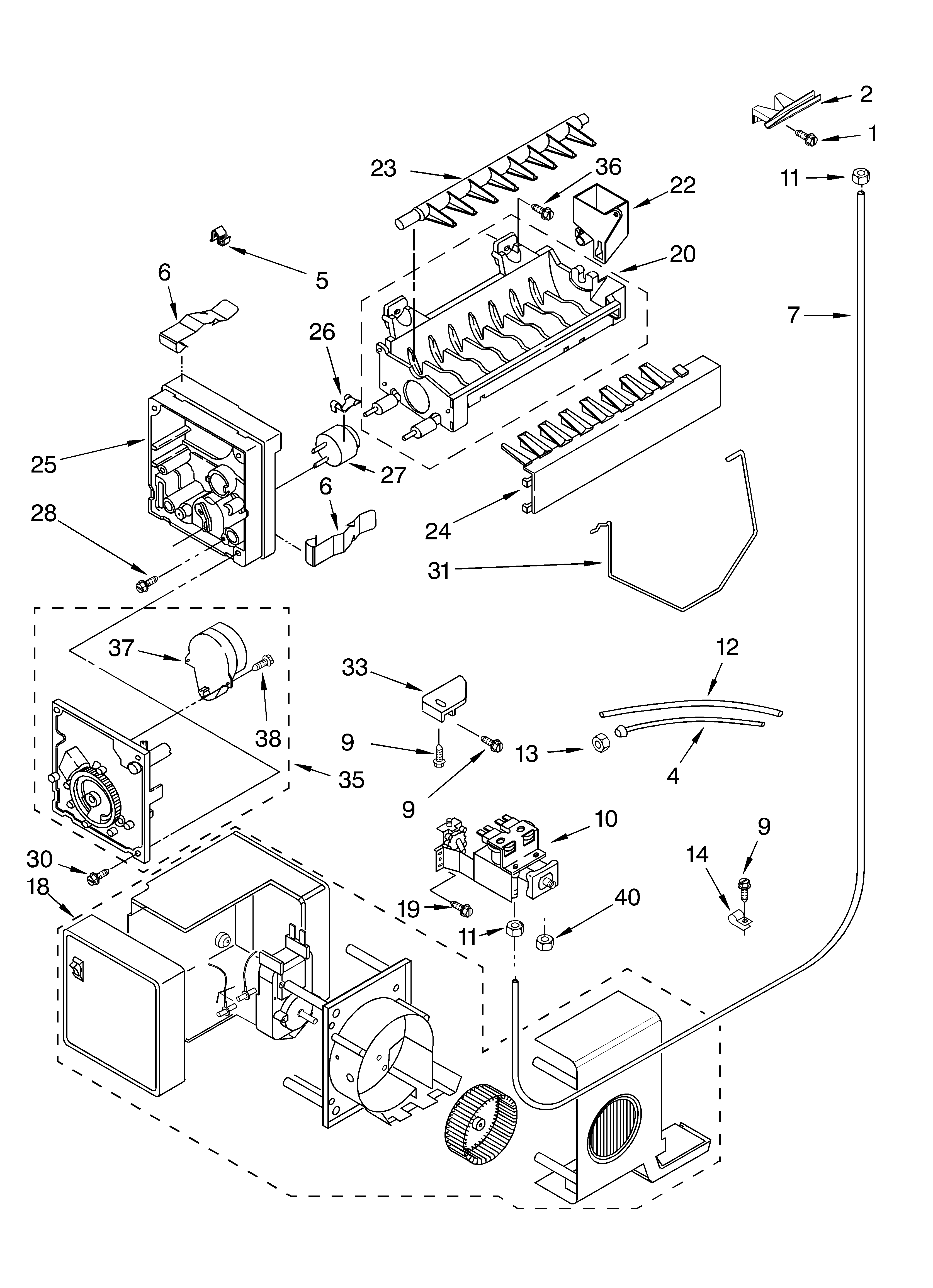 Whirlpool GD5NHGXLQ01 ice maker/optional diagram