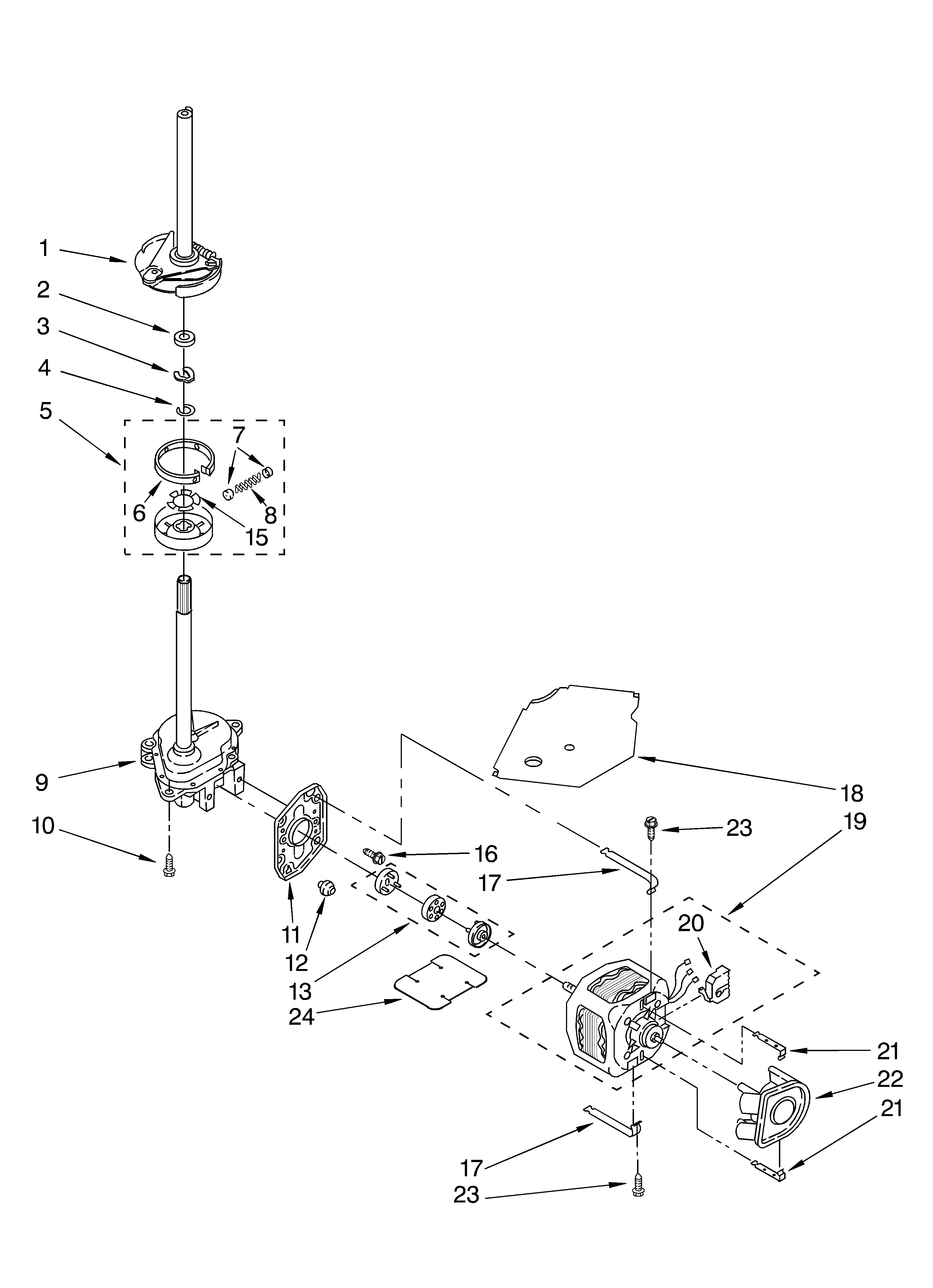 Whirlpool GSQ9631LL1 brake, clutch, gearcase, motor and pump parts diagram