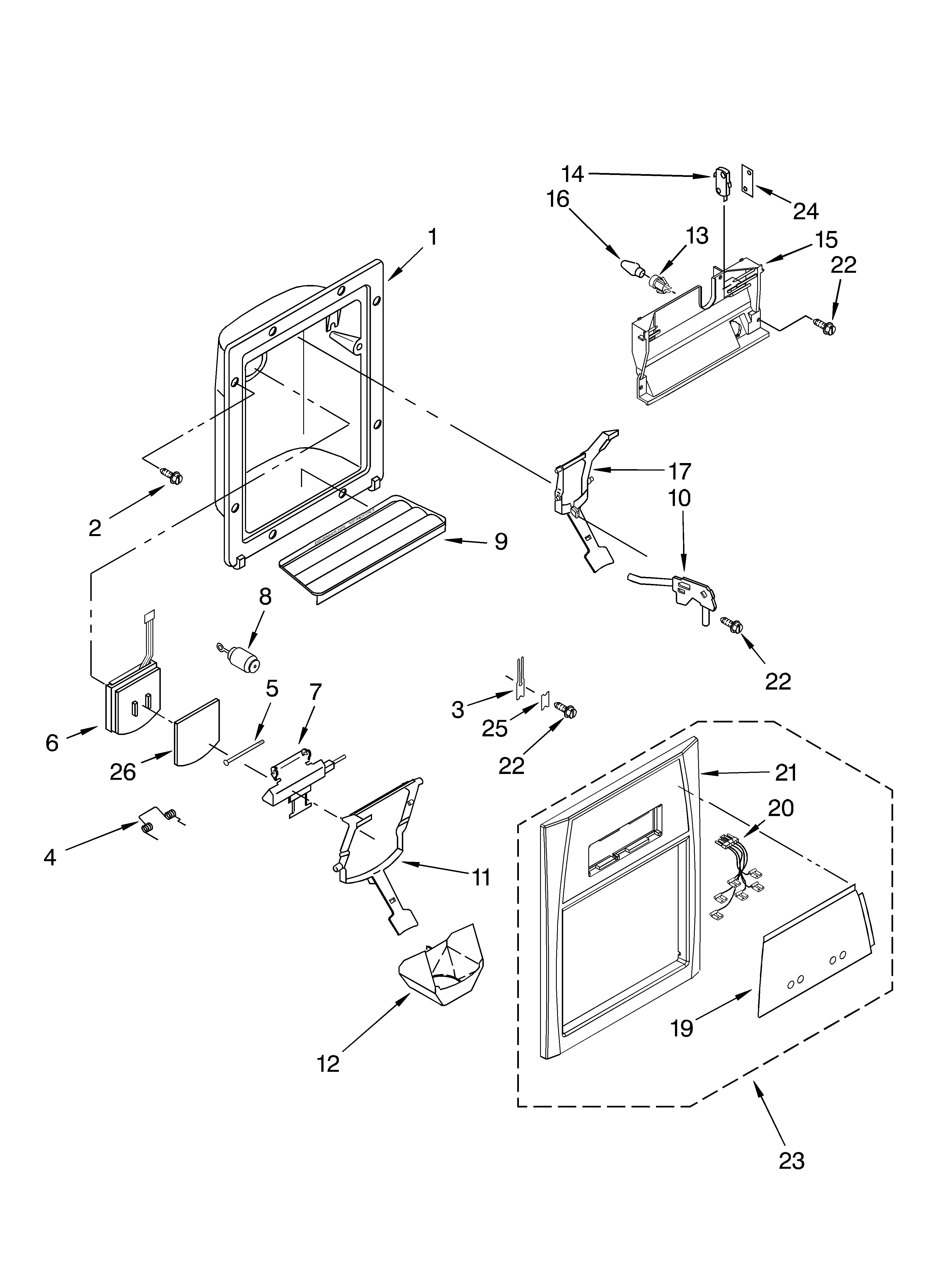 Whirlpool ED5NHGXMT00 dispenser front parts diagram