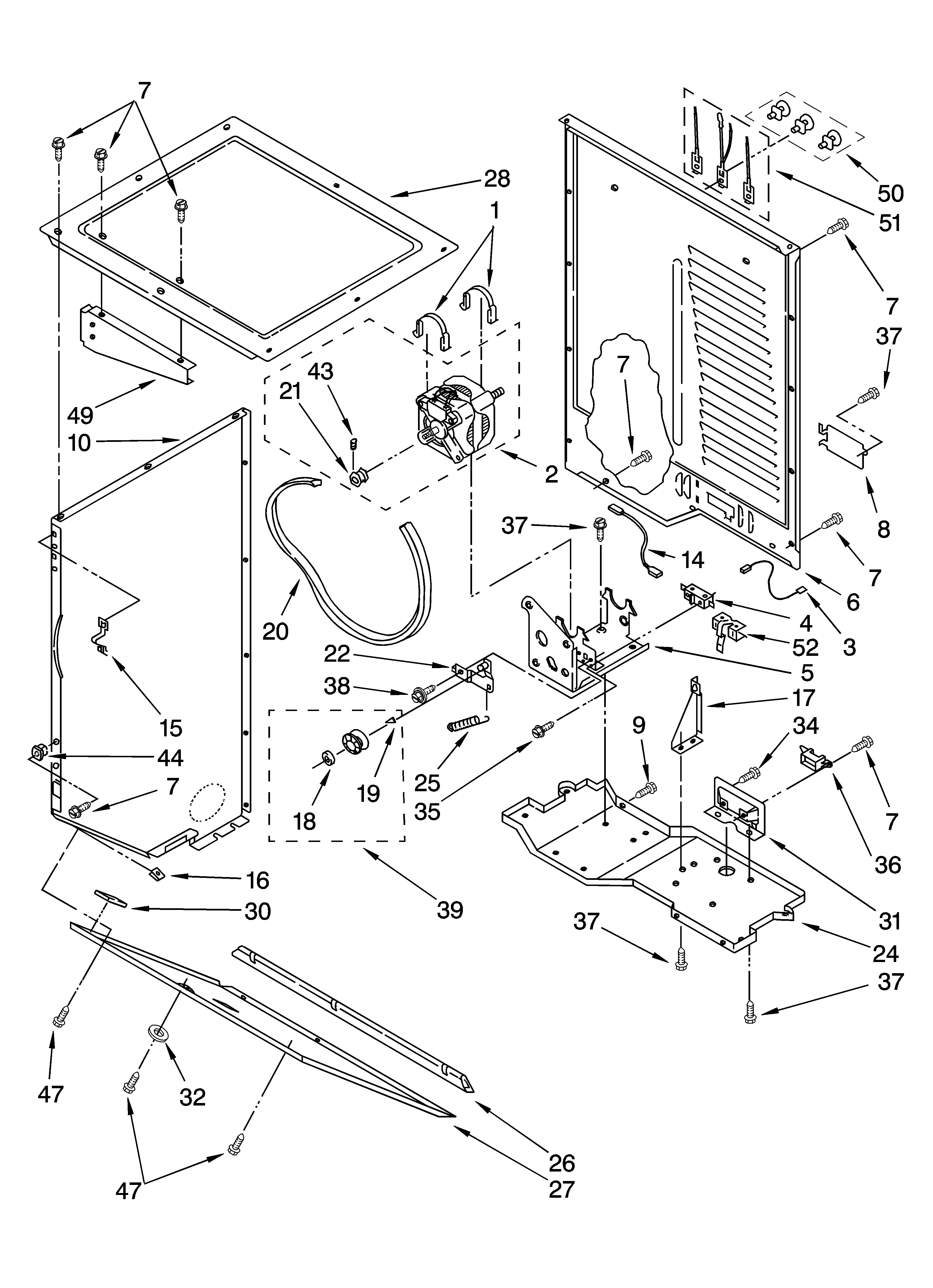 Whirlpool LTE6234DQ3 dryer cabinet and motor parts diagram