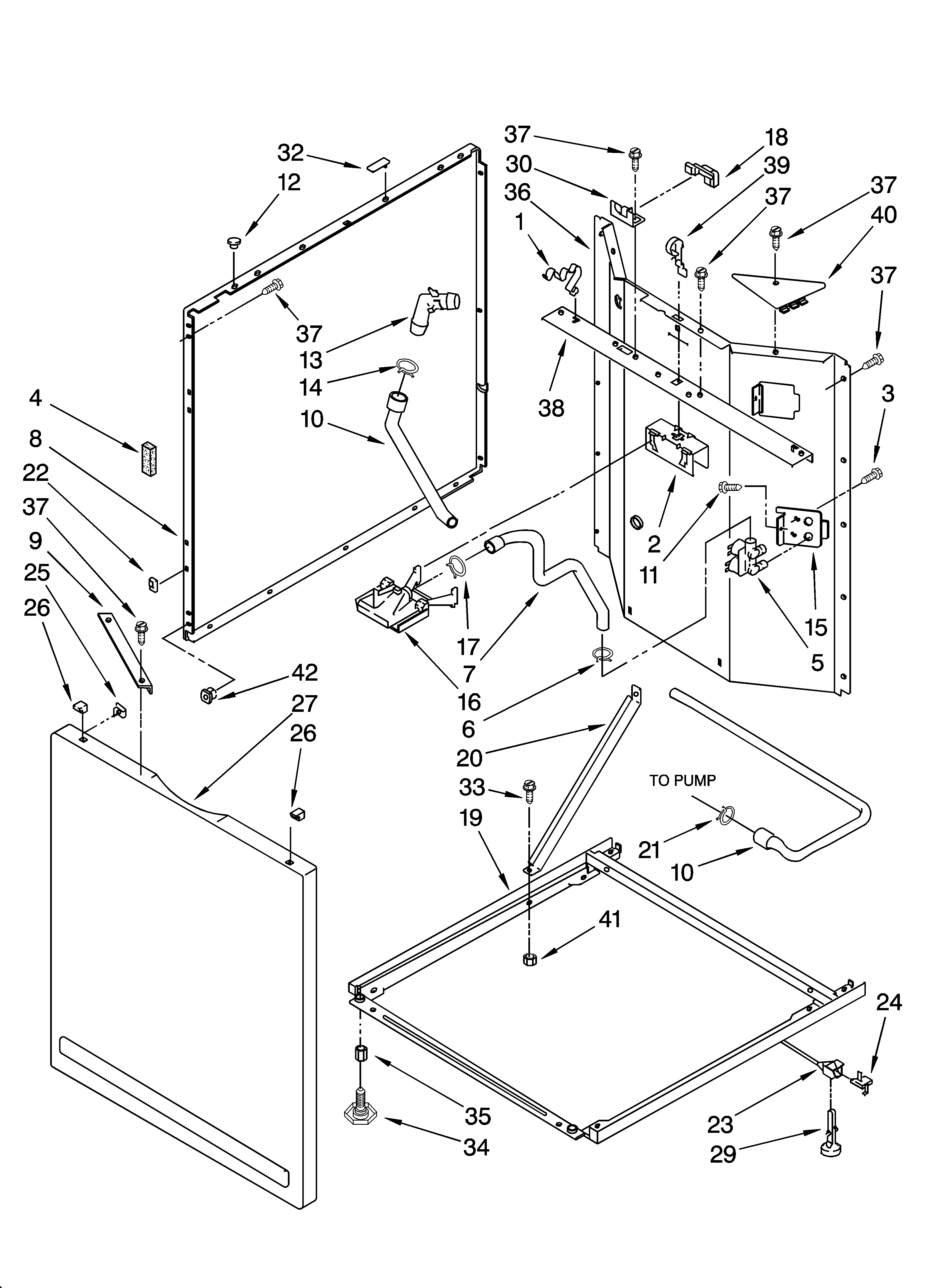 Whirlpool LTE6234DQ3 washer cabinet parts diagram