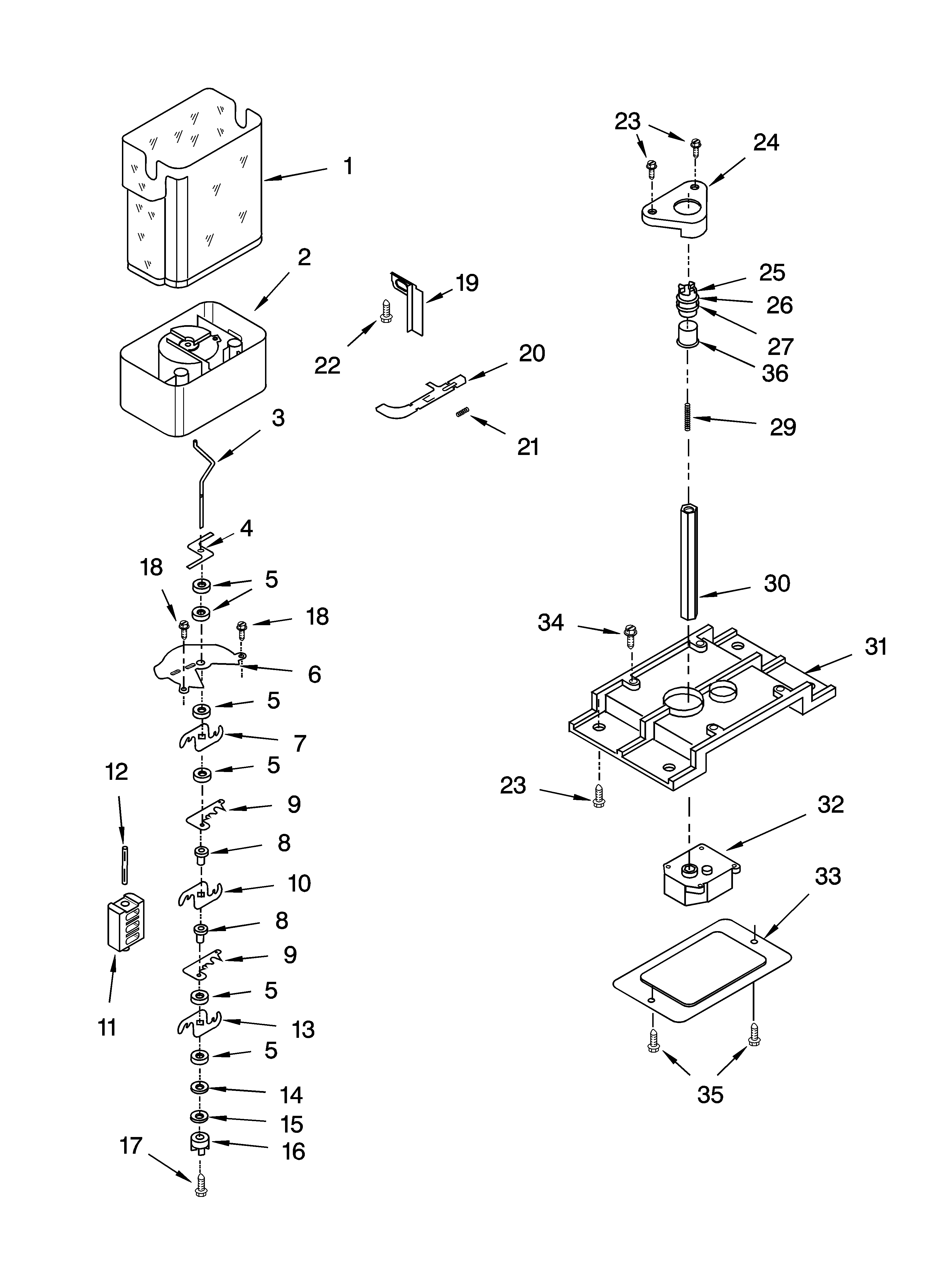 Whirlpool ED5SHAXML10 motor and ice container parts diagram