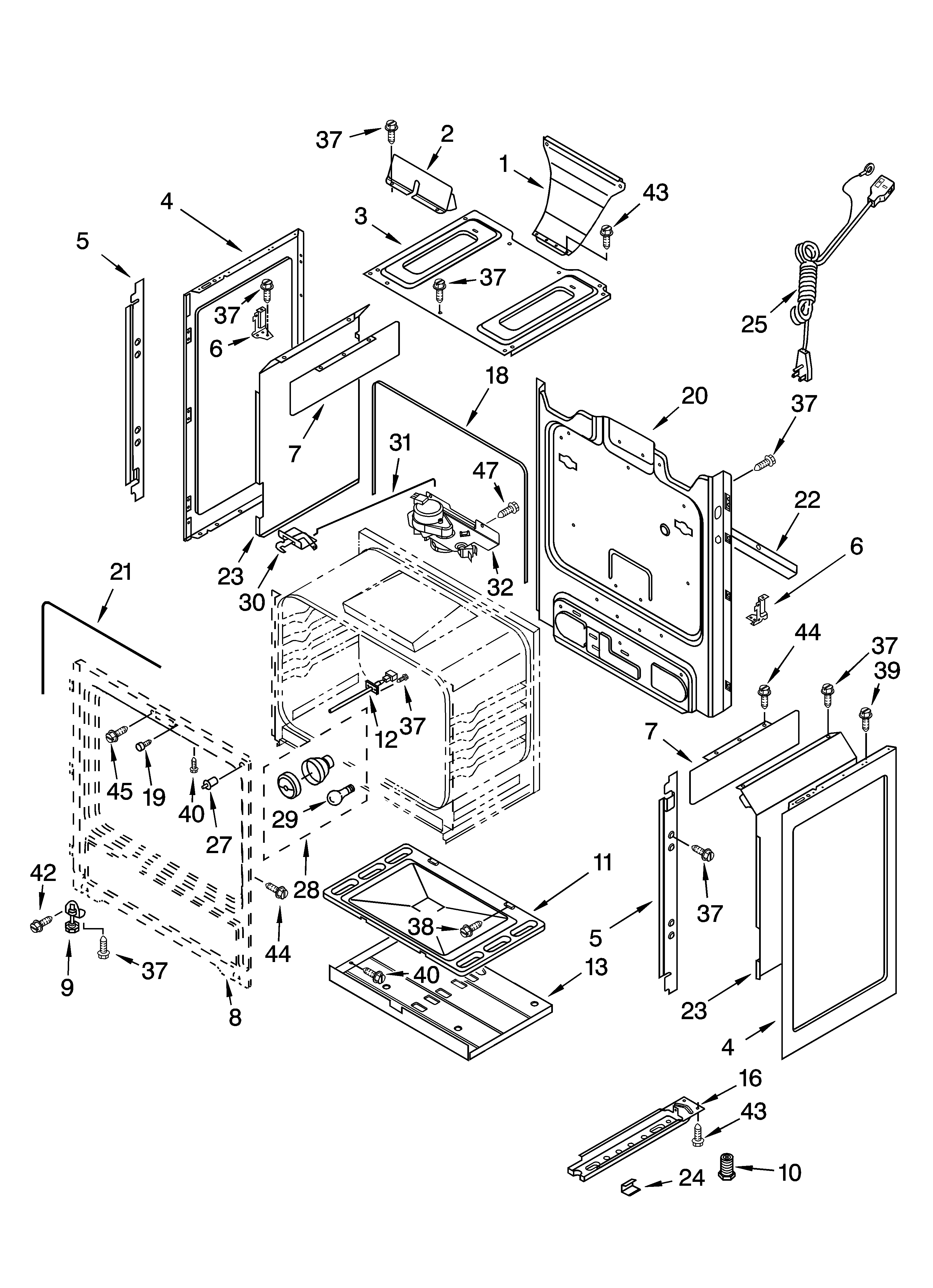 Whirlpool GS470LEMQ1 chassis parts diagram