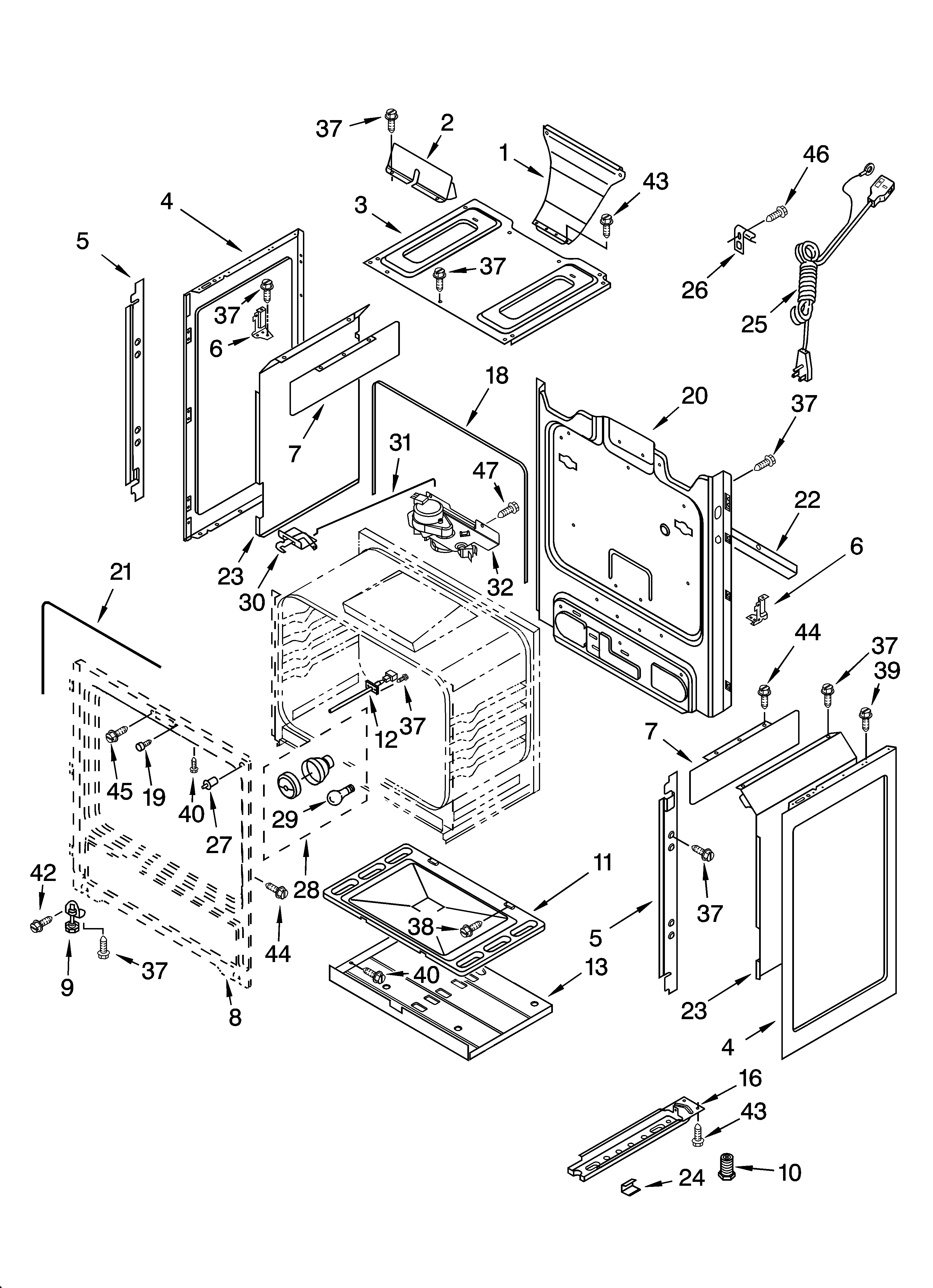 Whirlpool GS475LEMS1 chassis parts diagram