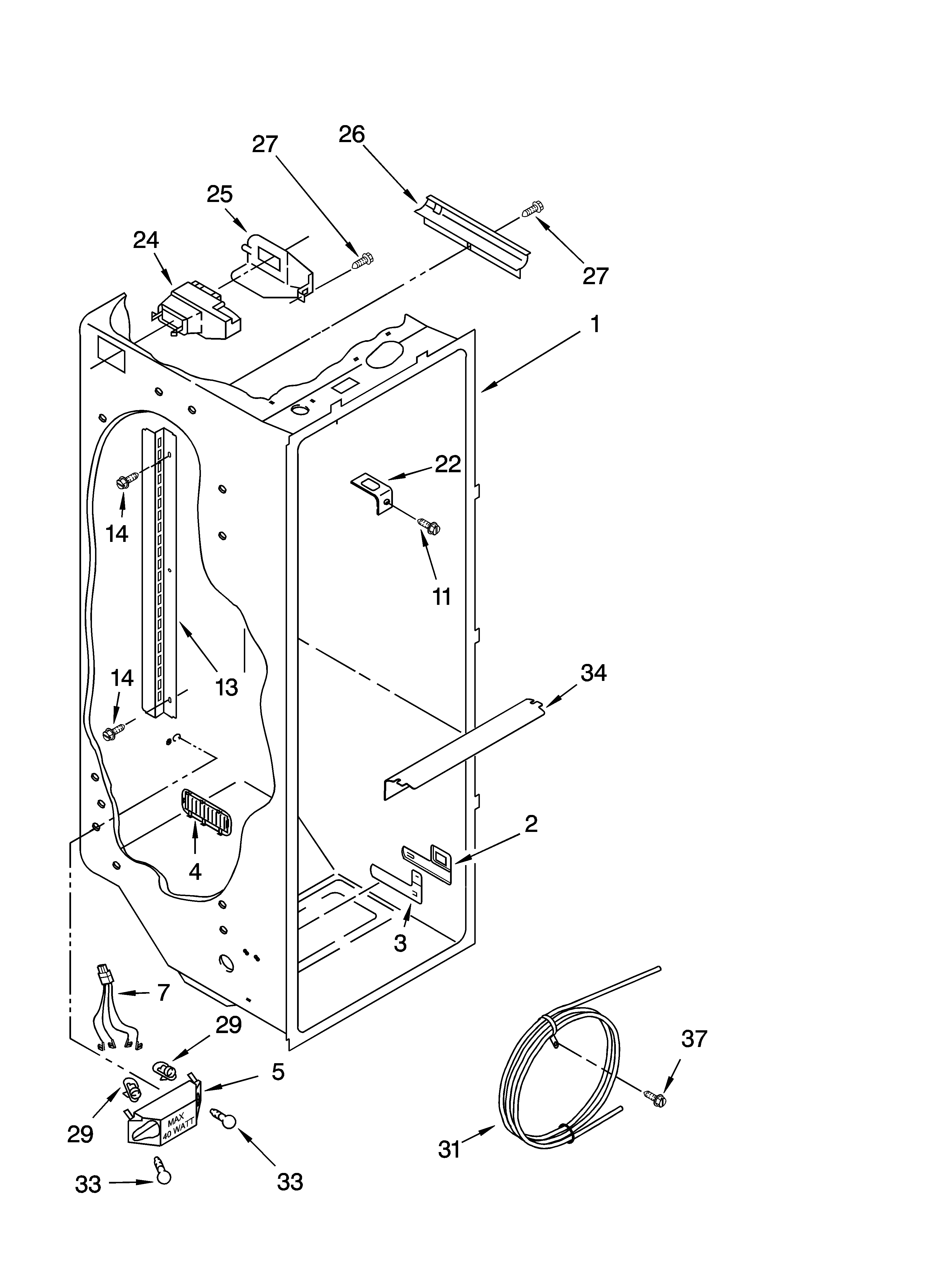 Whirlpool ED5FHGXNQ00 refrigerator liner parts diagram