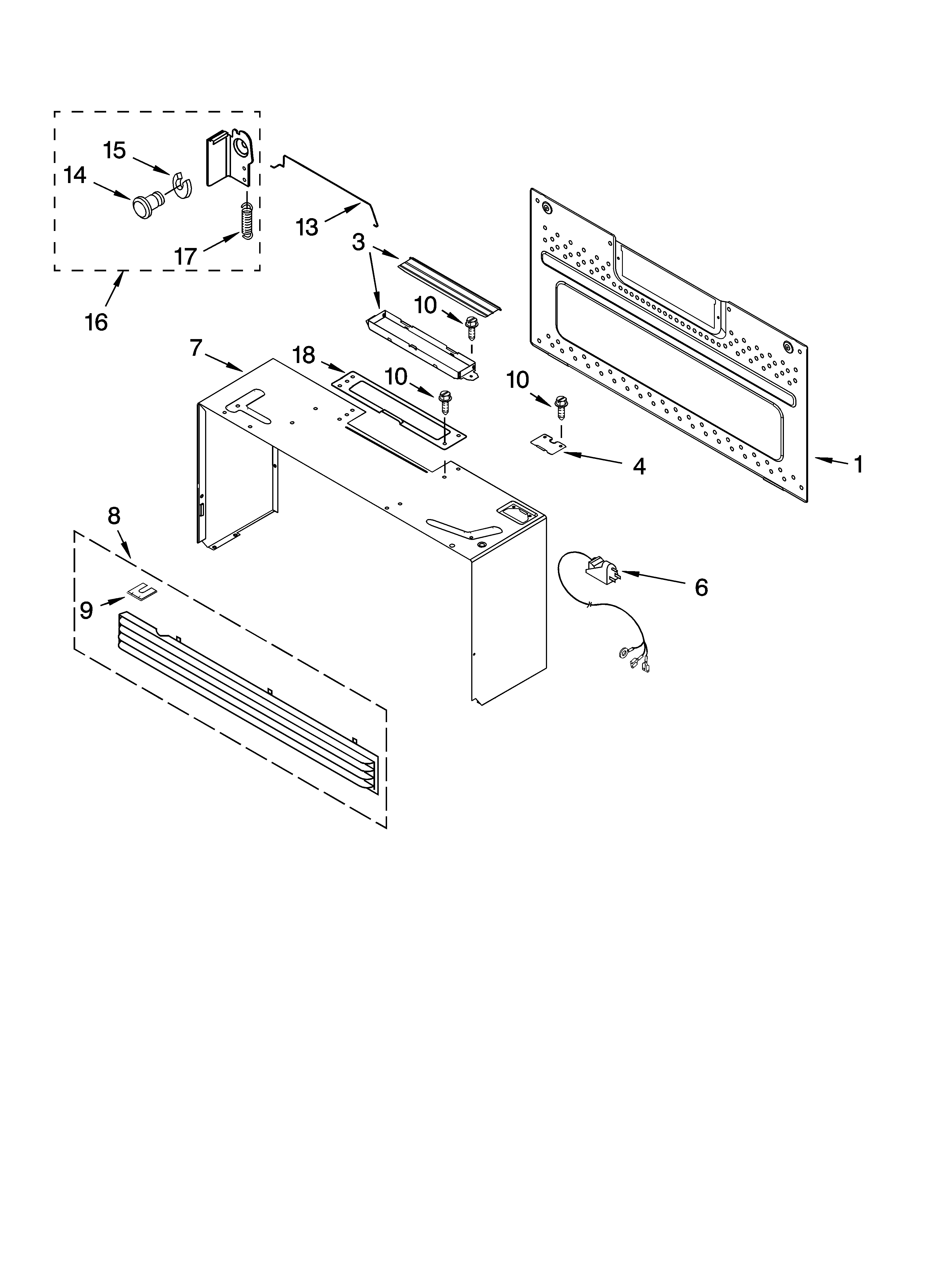 Whirlpool GH4155XPQ0 cabinet and installation parts diagram