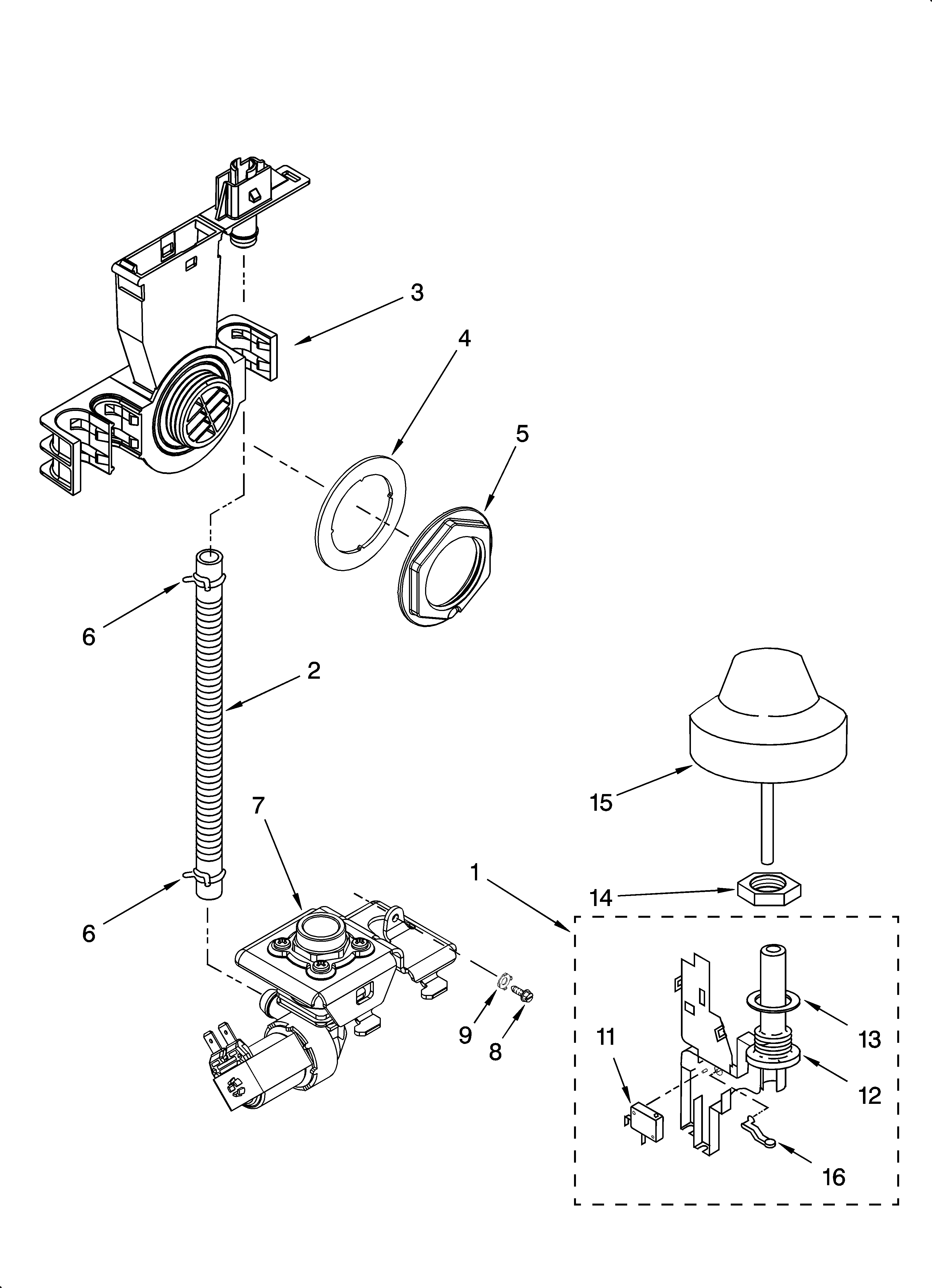 KitchenAid KUDS01DLWH2 fill and overfill parts diagram