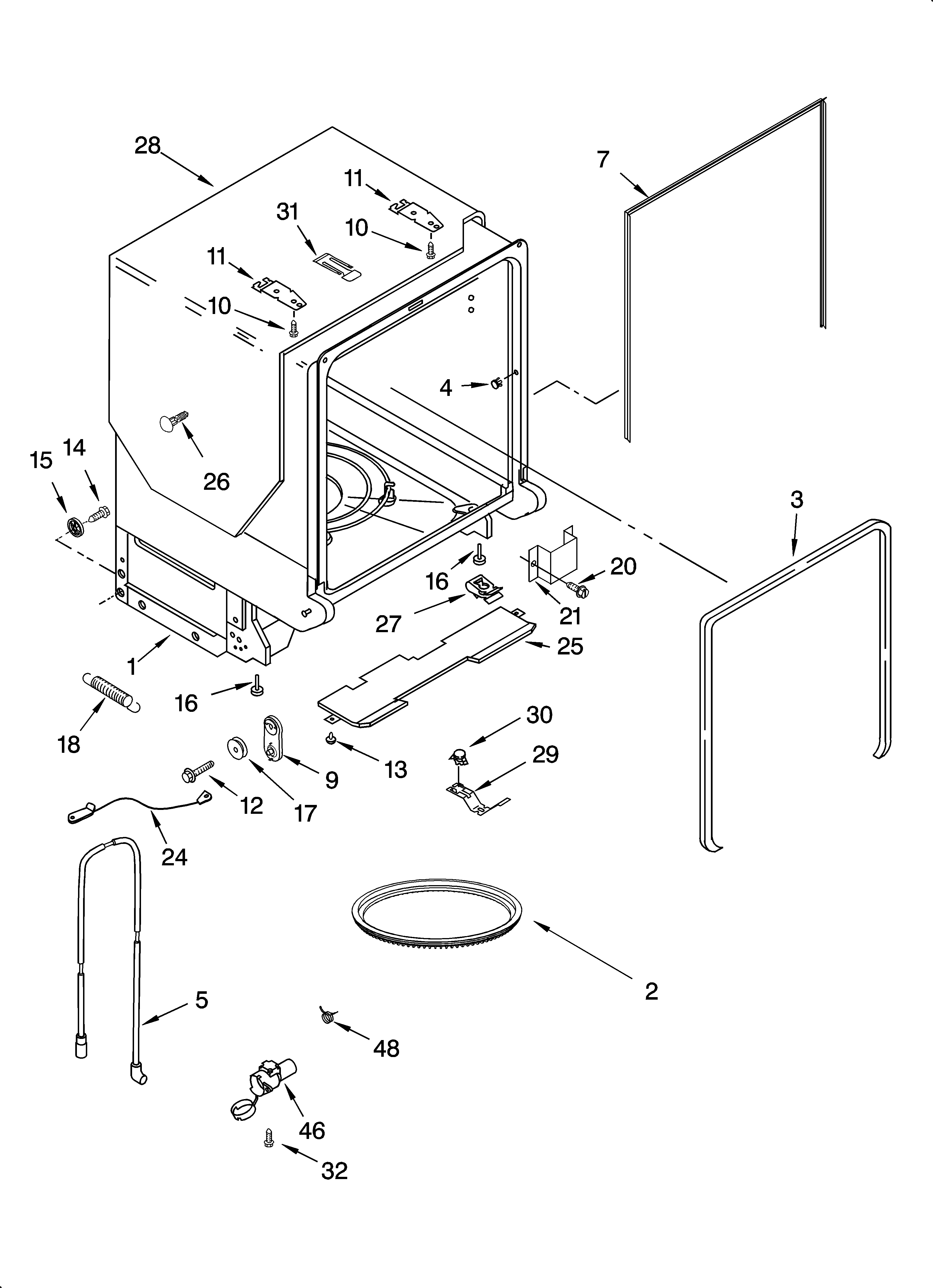 KitchenAid KUDS01DLWH2 tub and frame parts diagram