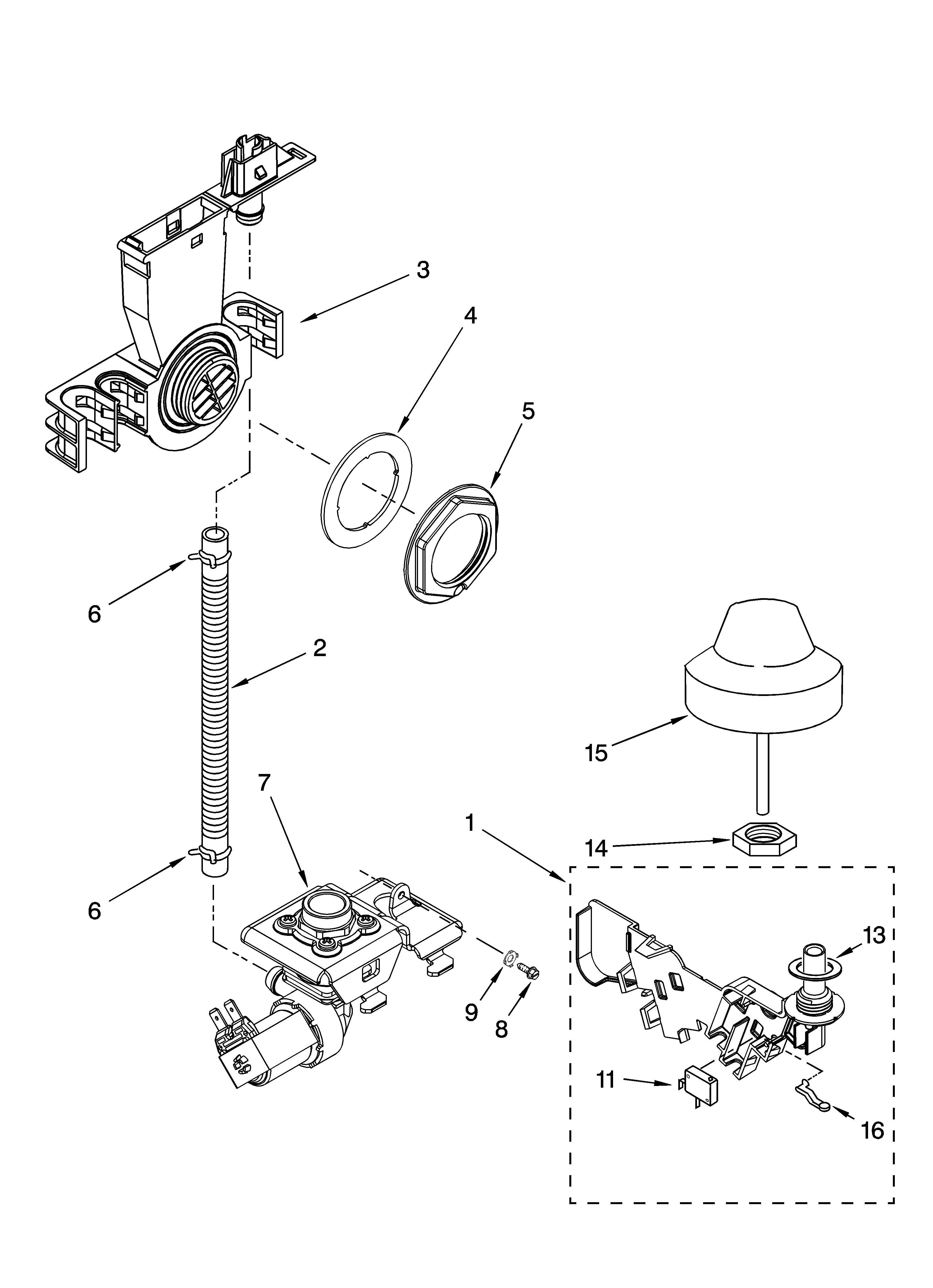 KitchenAid KUDK01ILBS3 fill and overfill parts diagram