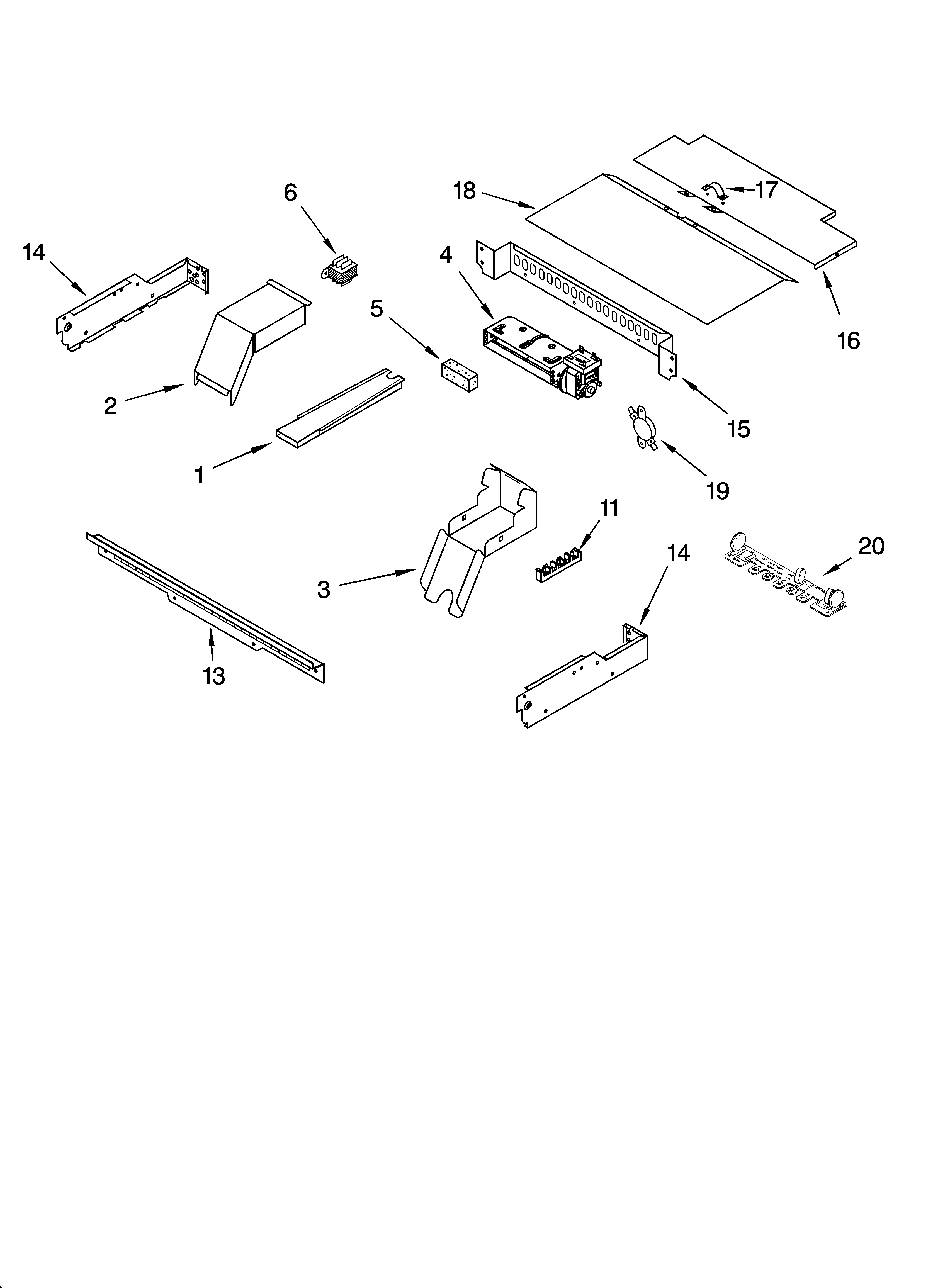 Whirlpool GBD307PDT10 top venting parts, optional parts diagram