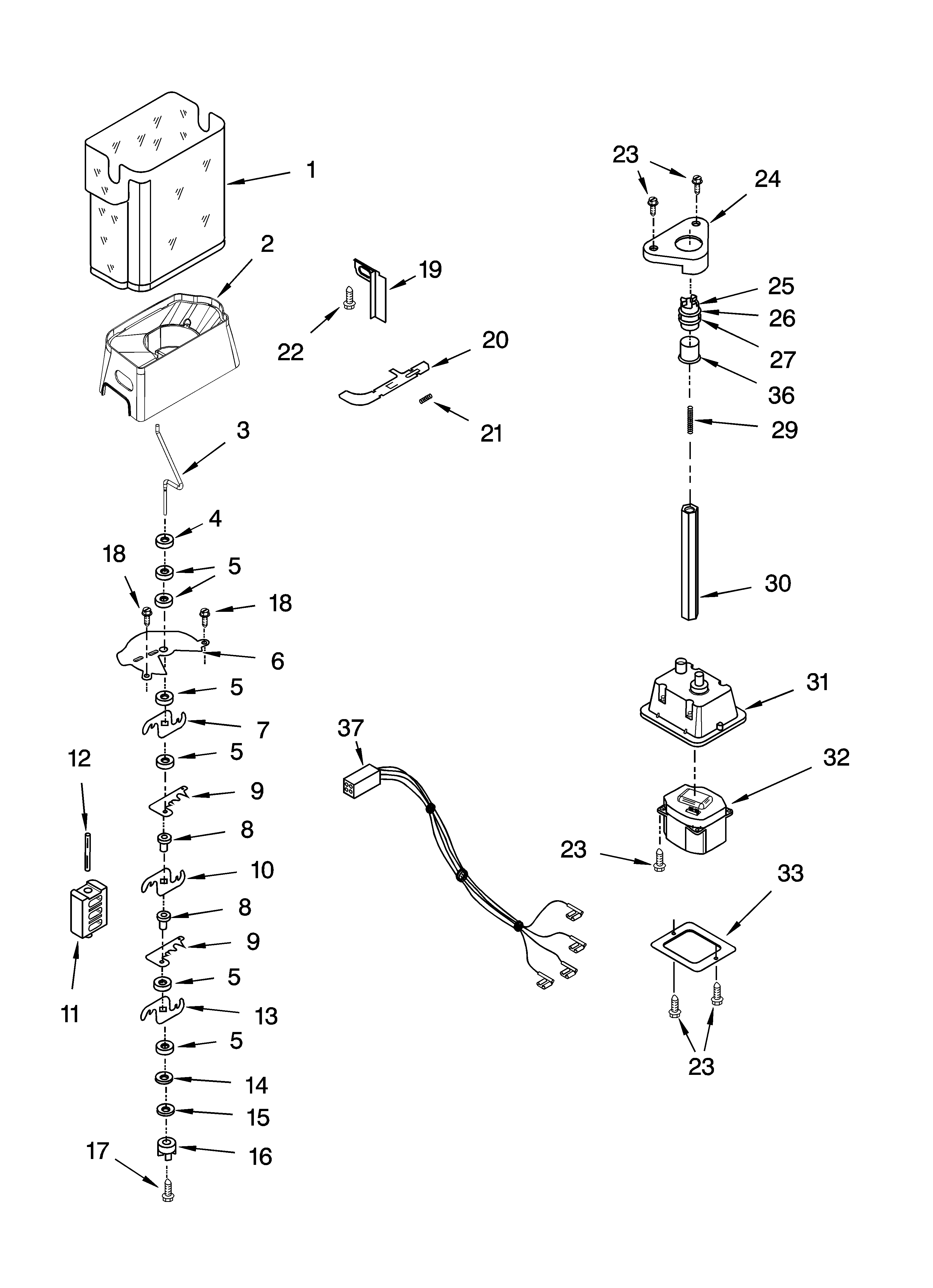 KitchenAid KSBP23INSS00 motor and ice container parts diagram