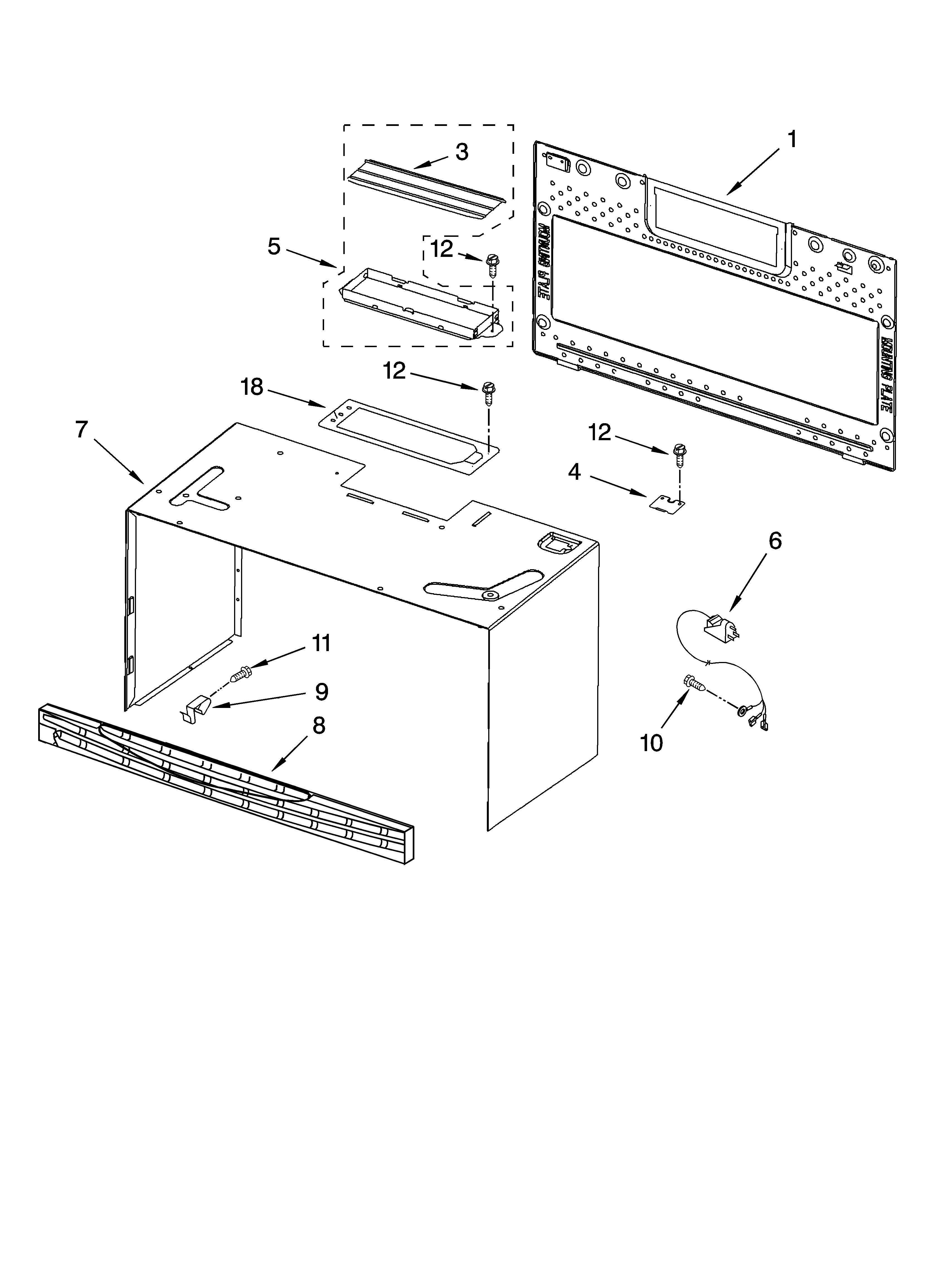 Whirlpool MH3184XPB3 cabinet and installation parts diagram