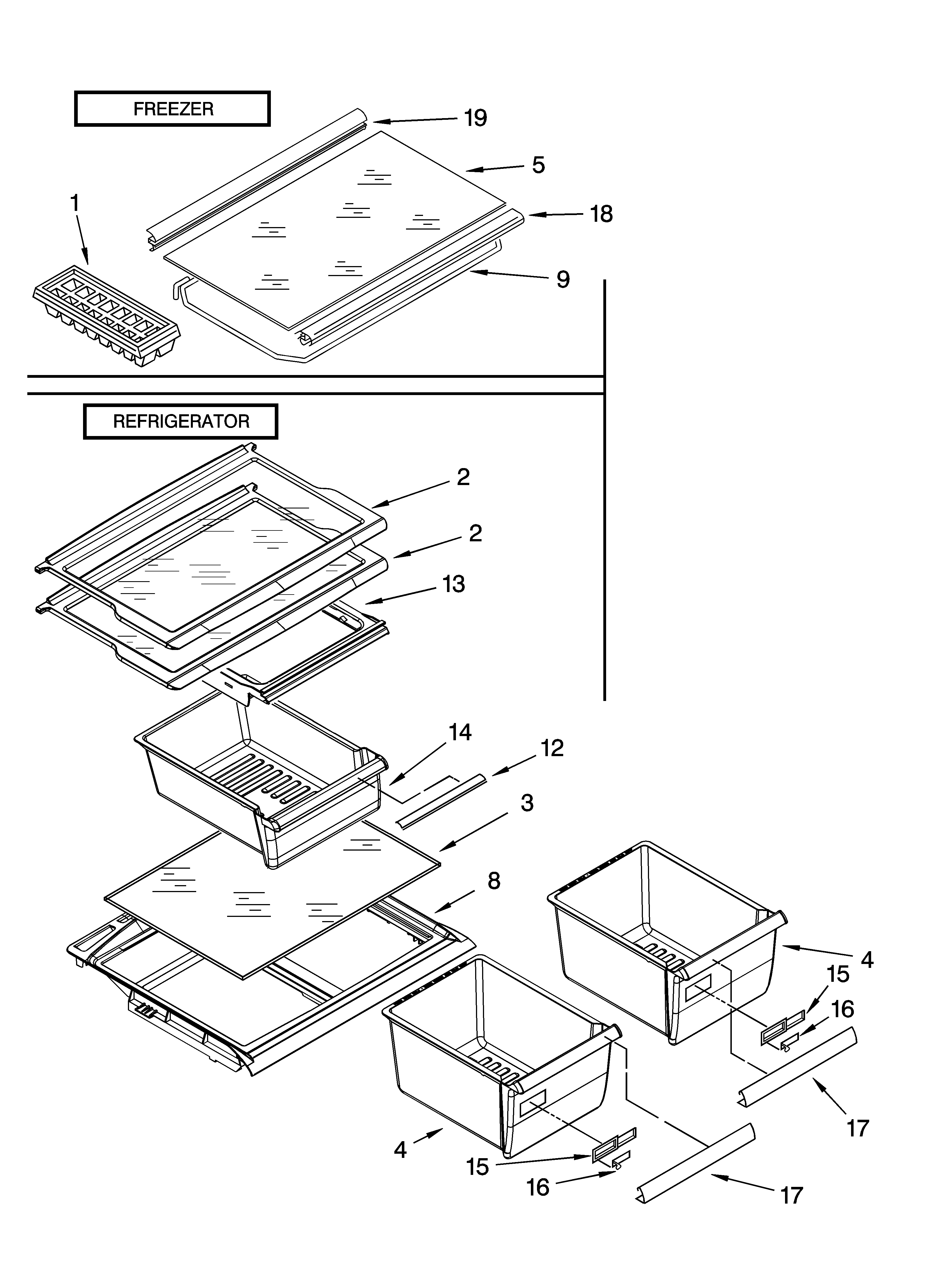 Whirlpool ER8AHKXRB01 shelf parts, optional parts (not included) diagram