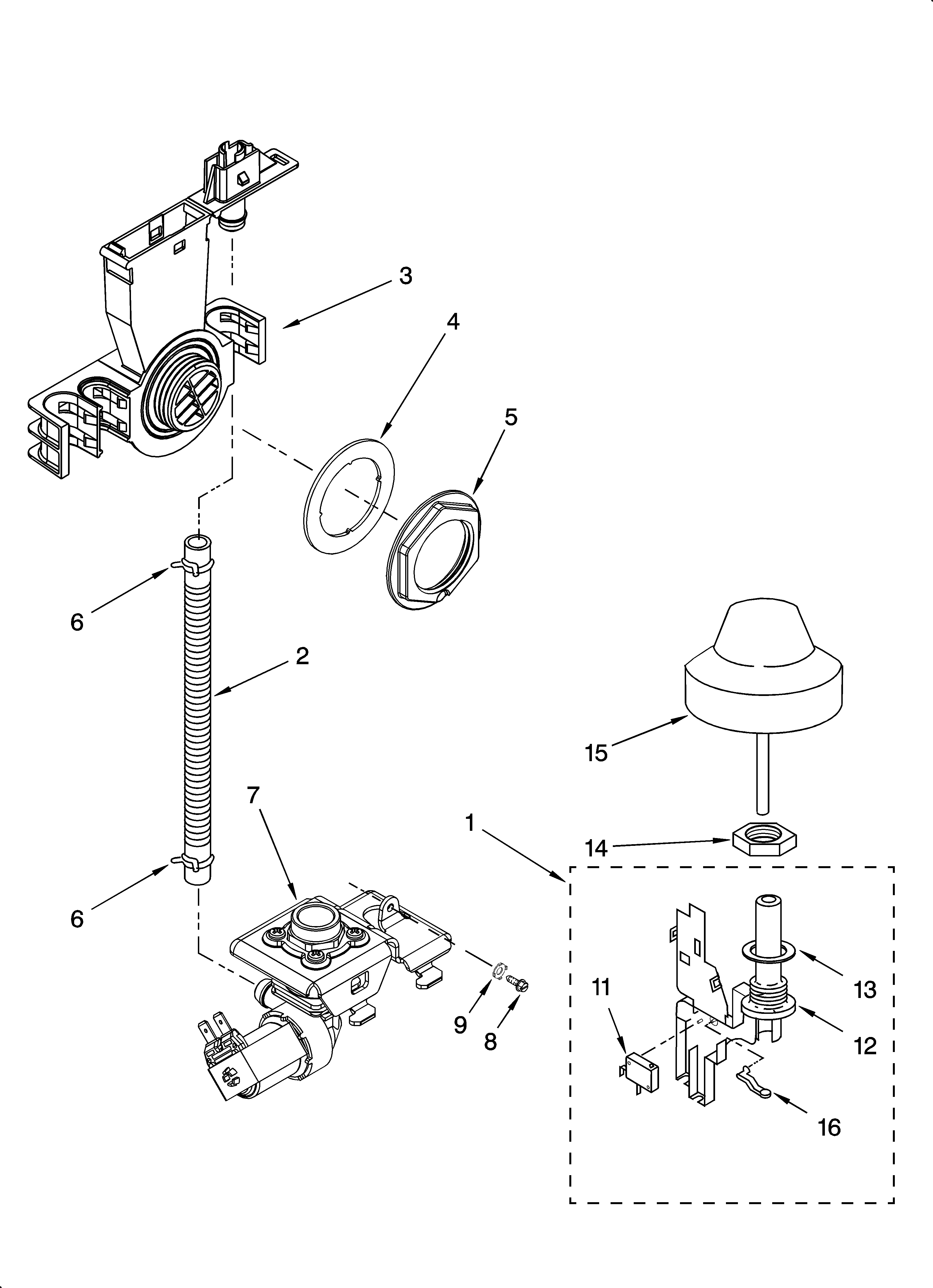 KitchenAid KUDS01FLBL2 fill and overfill parts diagram