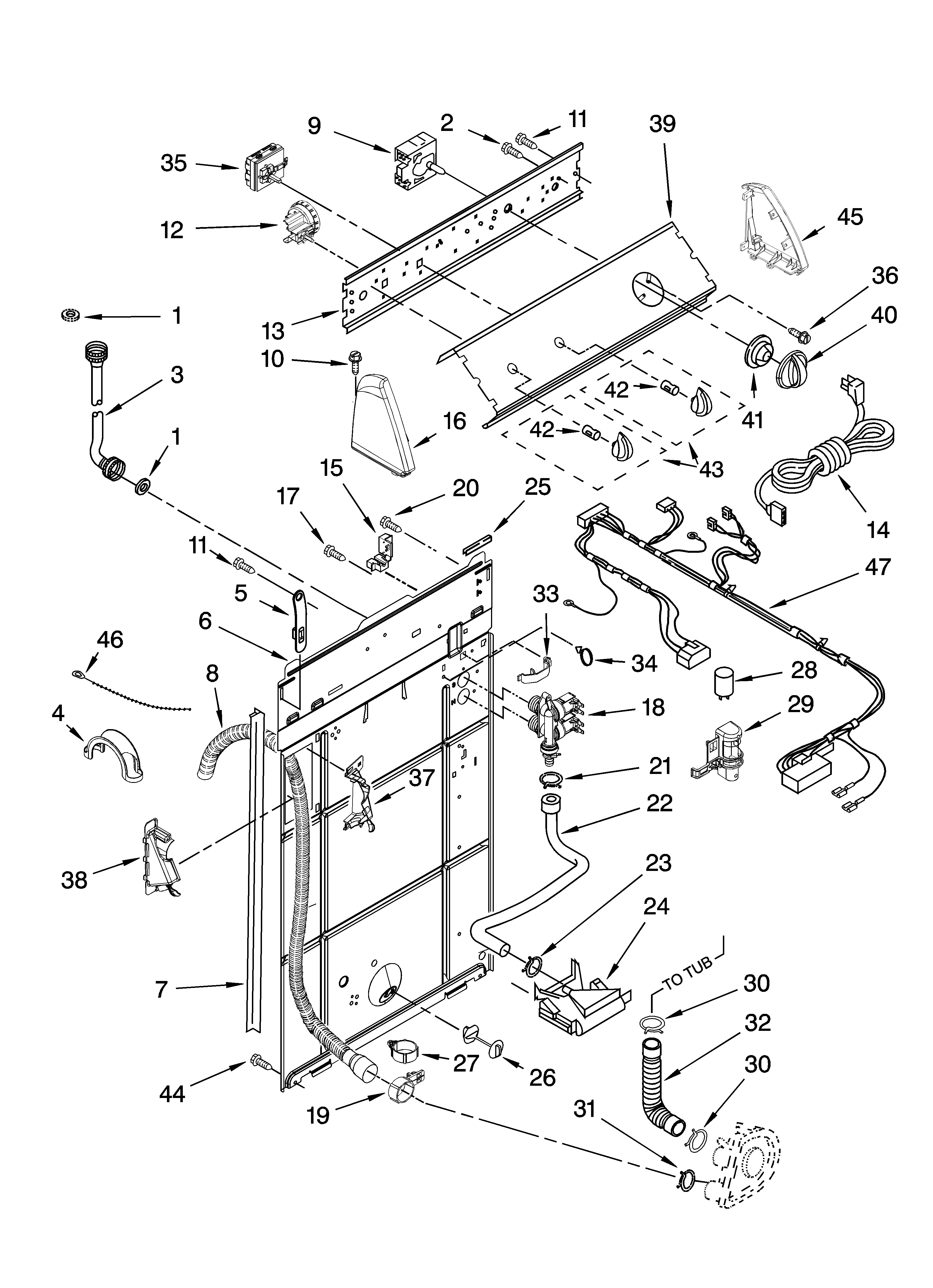 Whirlpool 1CWTW5505SQ0 controls and rear panel parts diagram