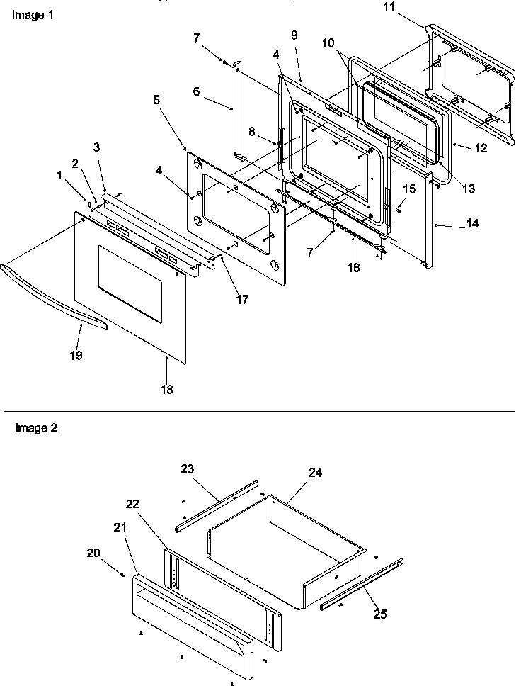 Amana  Amana Range S/C S/I Ele  Oven door & storage drawer