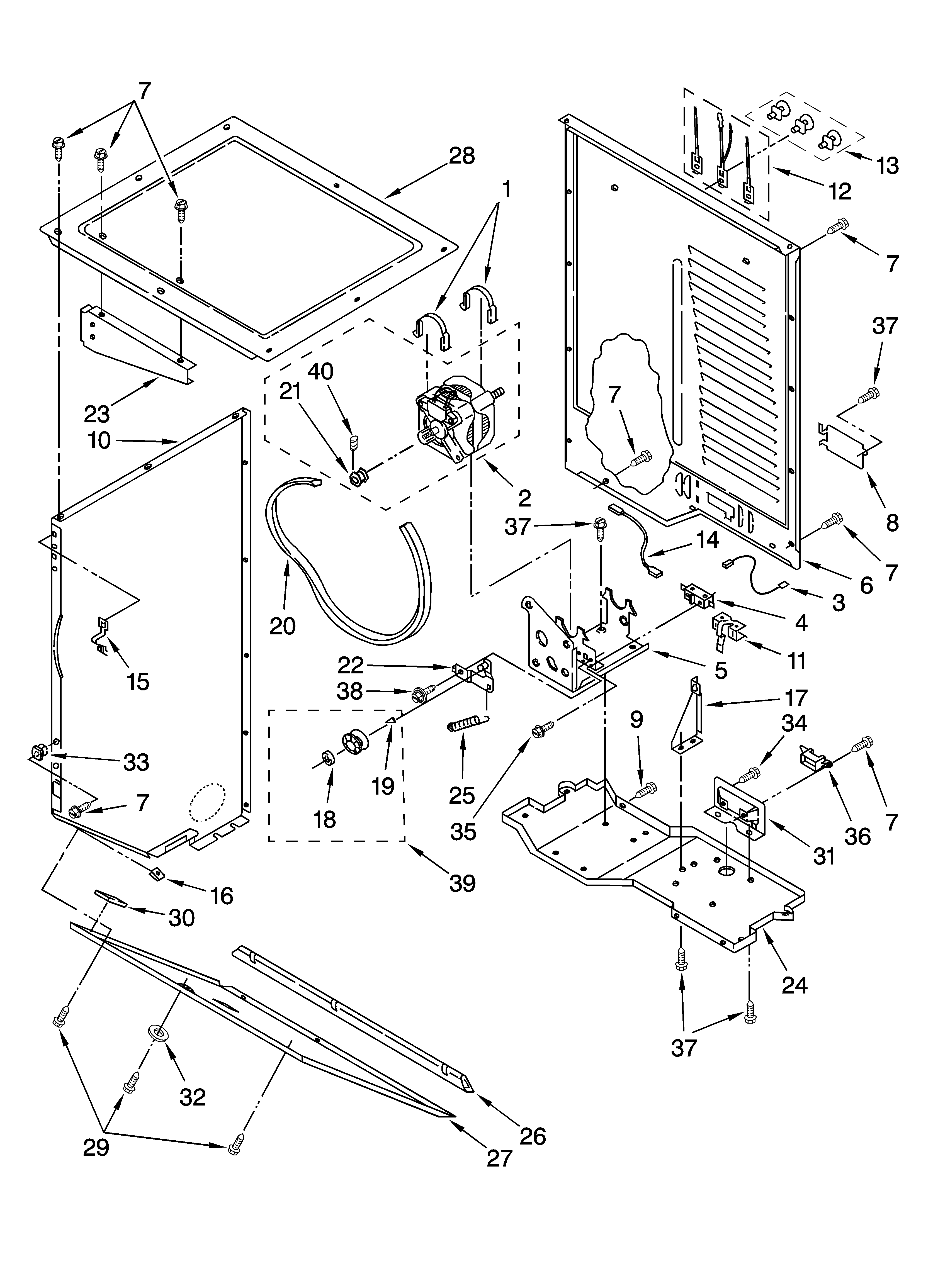 Maytag MET3800TW0 dryer cabinet and motor parts diagram
