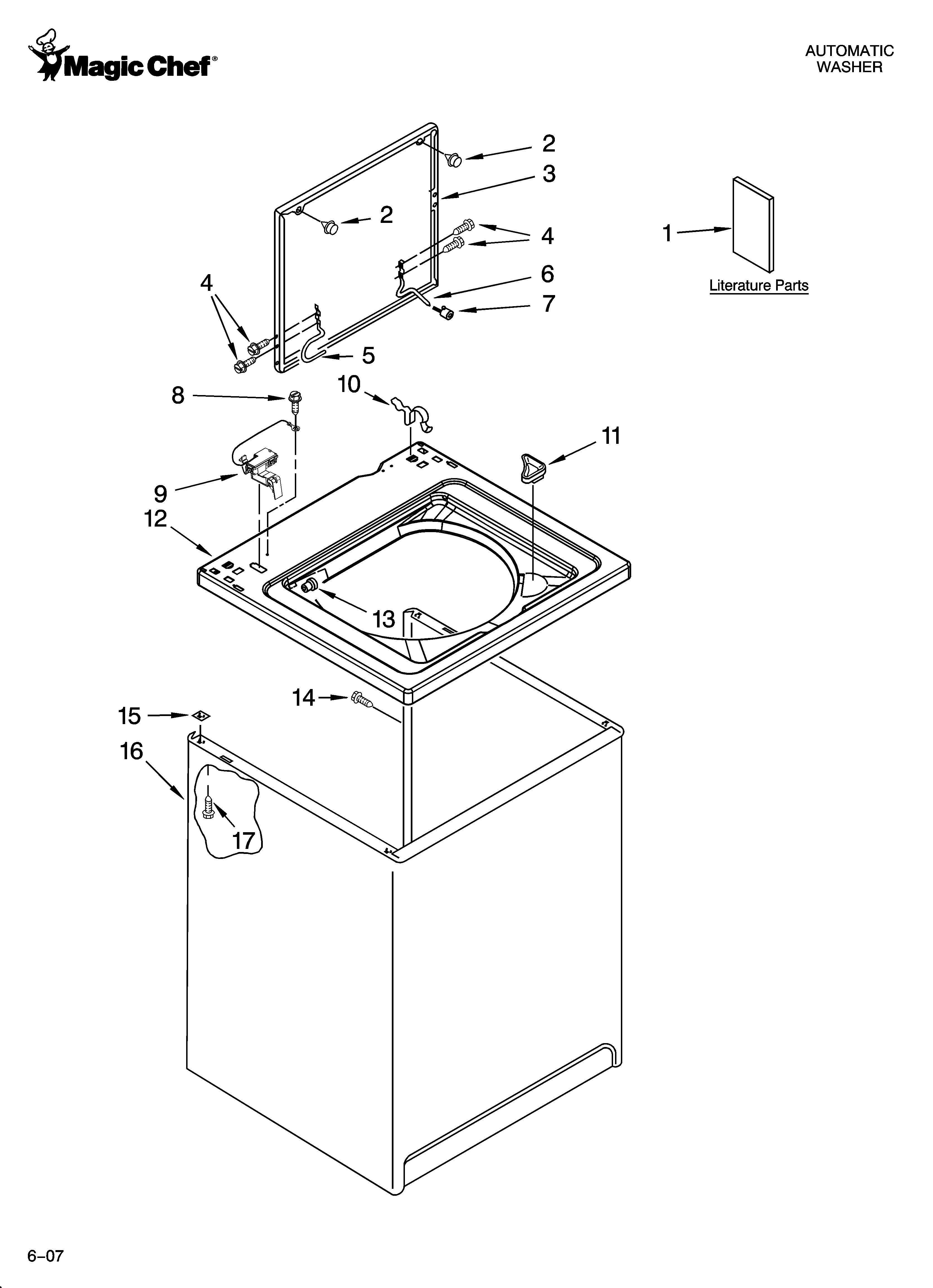 magic chef residential washer parts