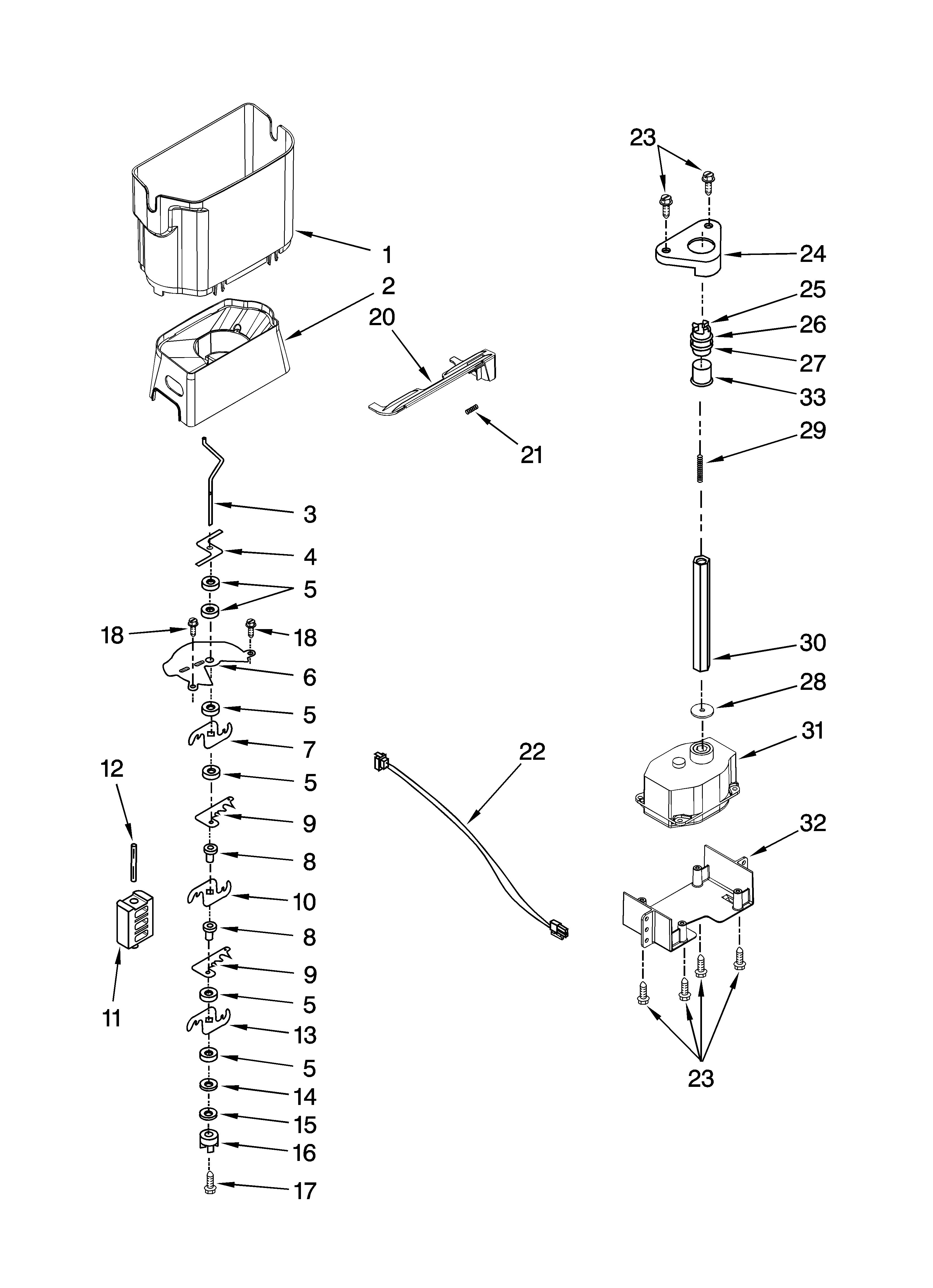 KitchenAid KSCS23FTWH02 motor and ice container parts diagram