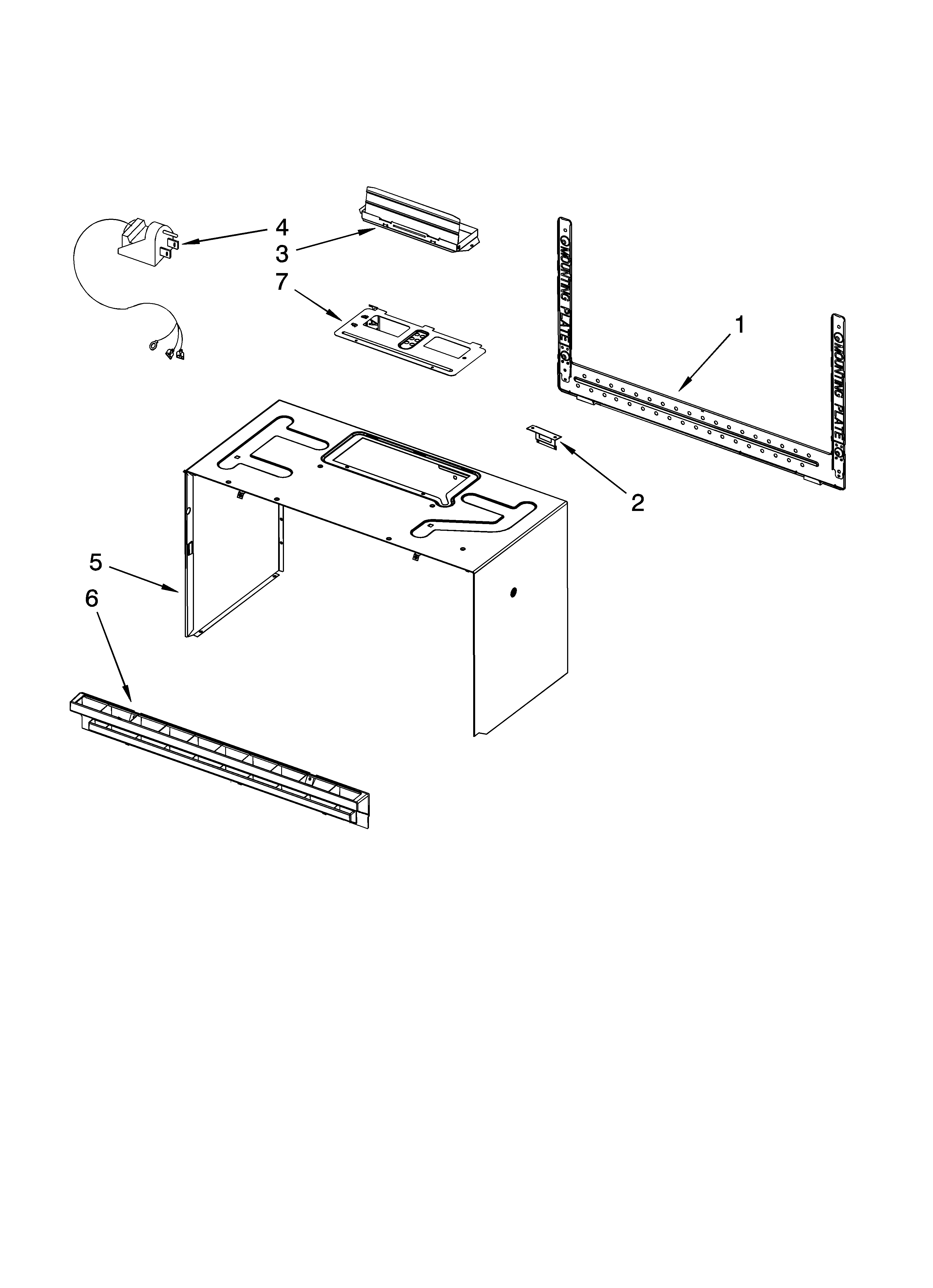 Whirlpool YMH2175XSS1 cabinet and installation parts diagram