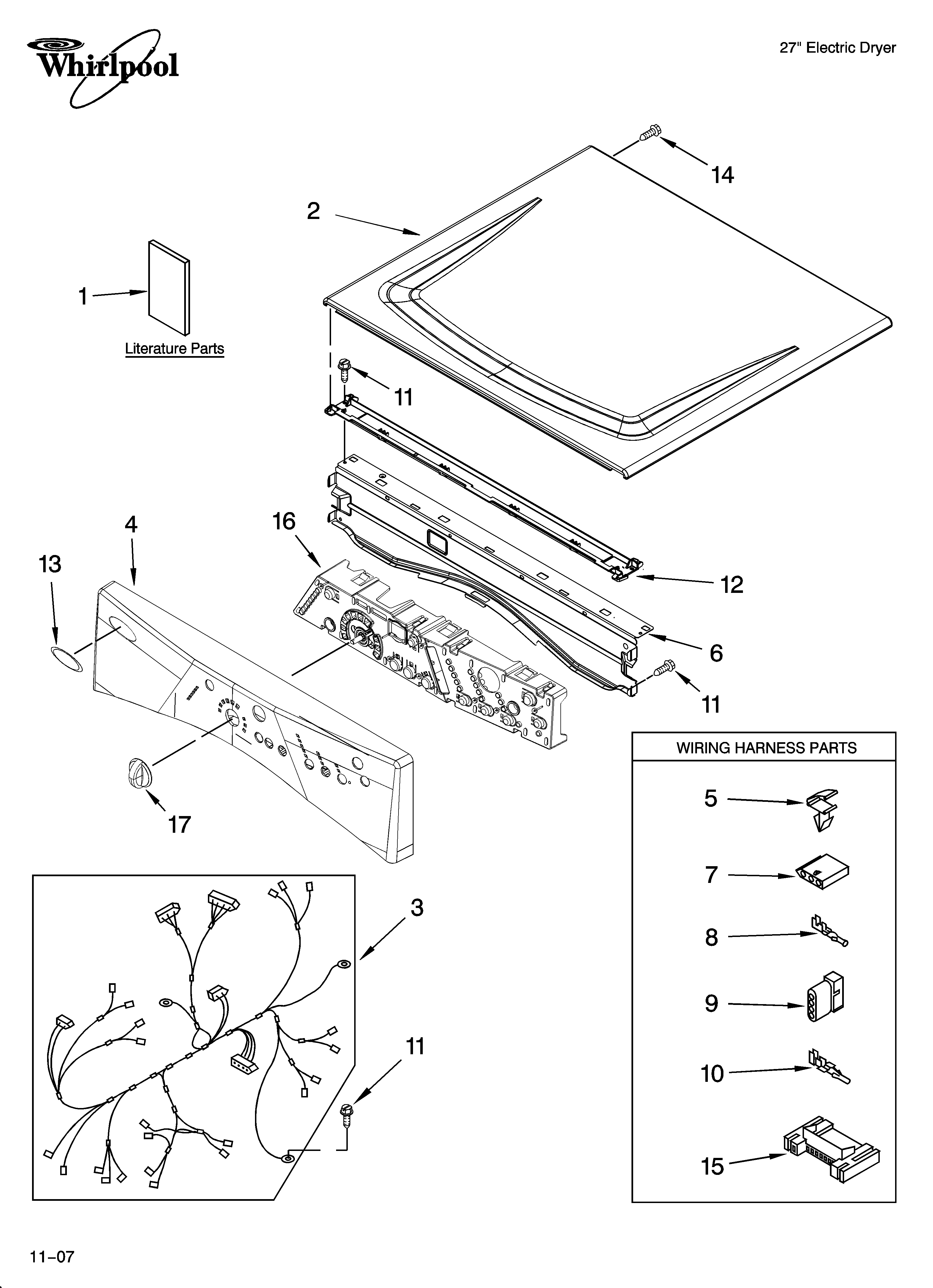 Whirlpool WED8300SW2 top and console parts diagram