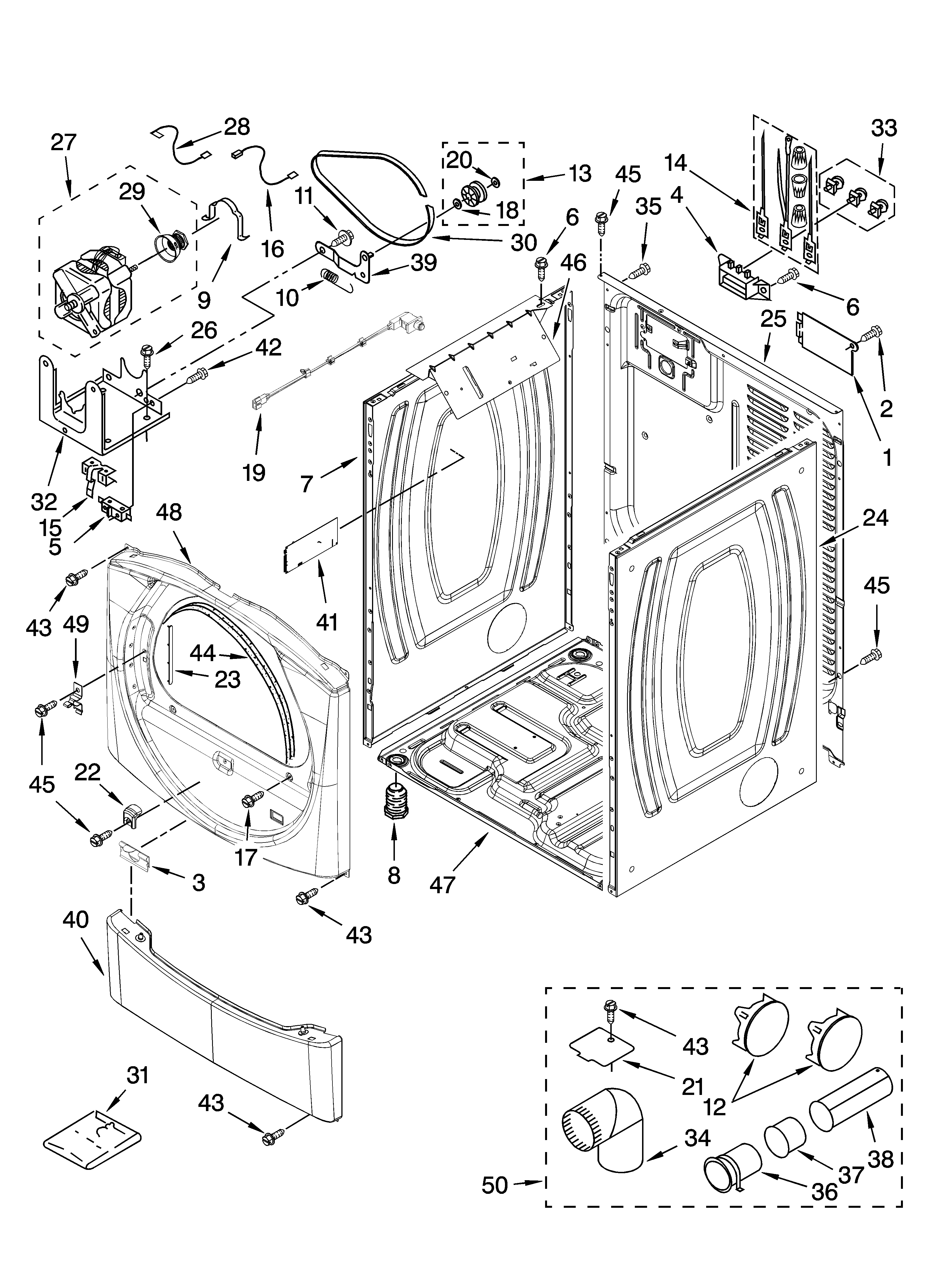 Whirlpool WED8300SW2 cabinet parts diagram