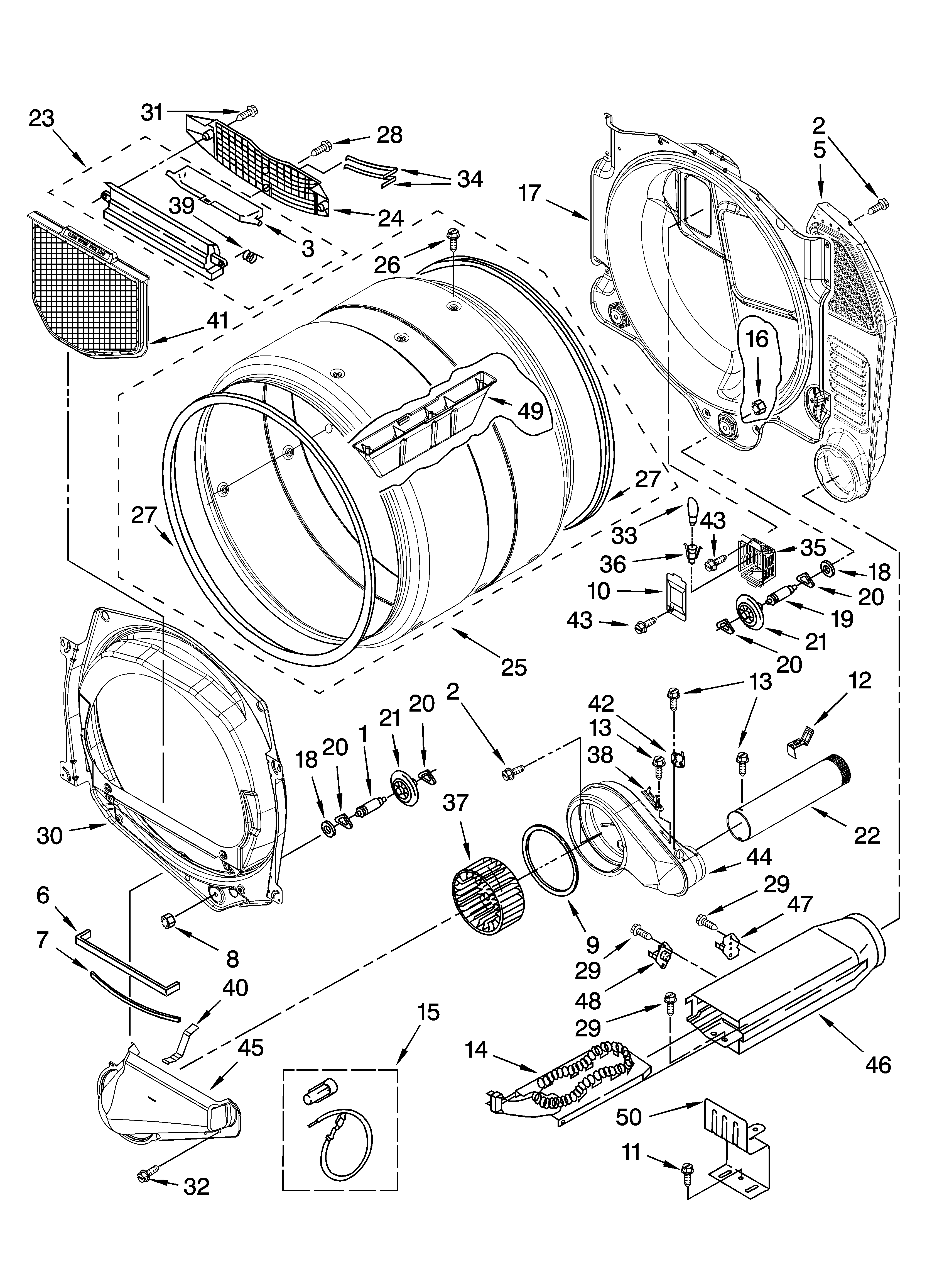 Whirlpool WED8300SW2 bulkhead parts diagram