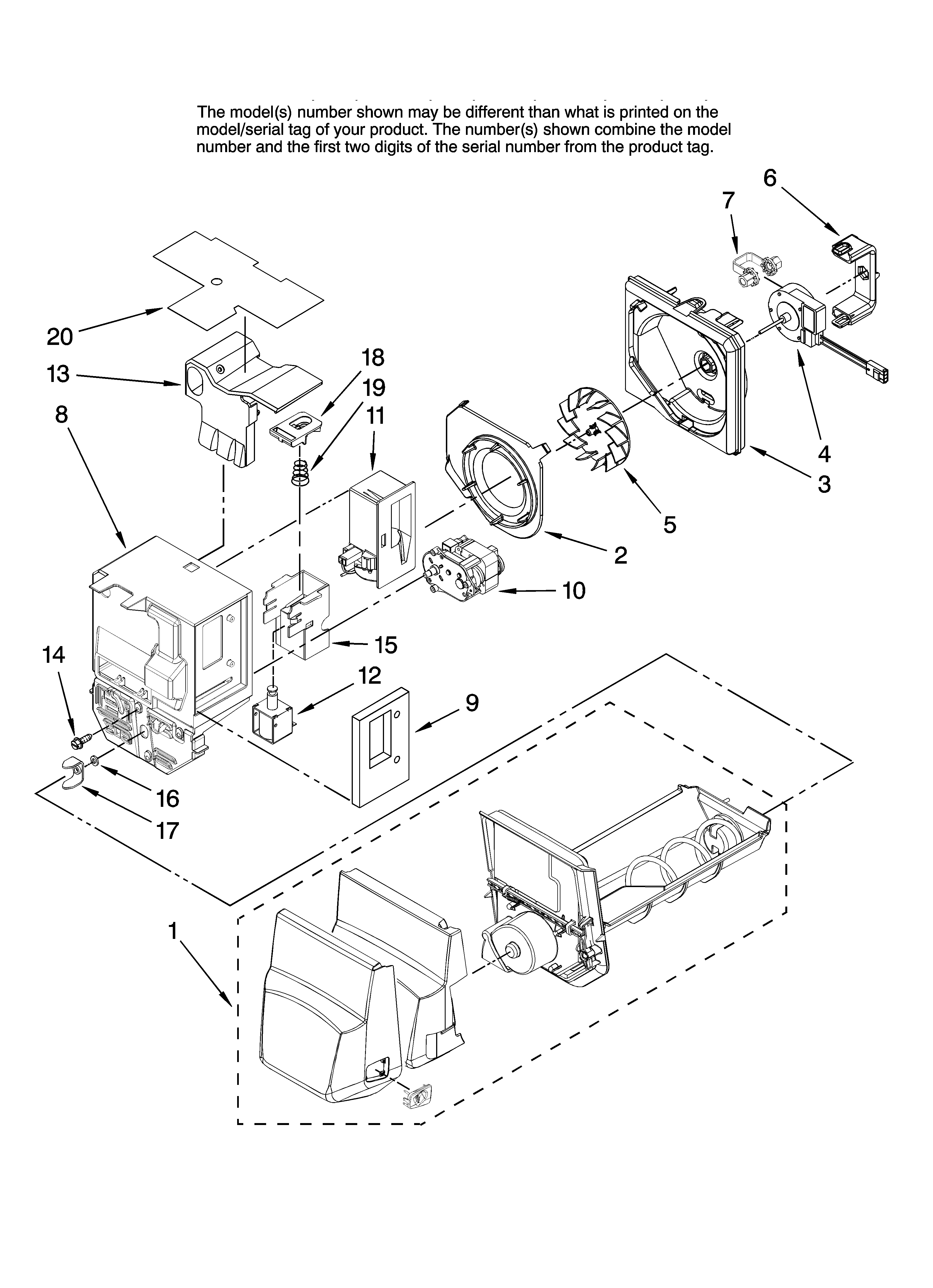 Jenn-Air JFI2089AEP10 motor and ice container parts diagram