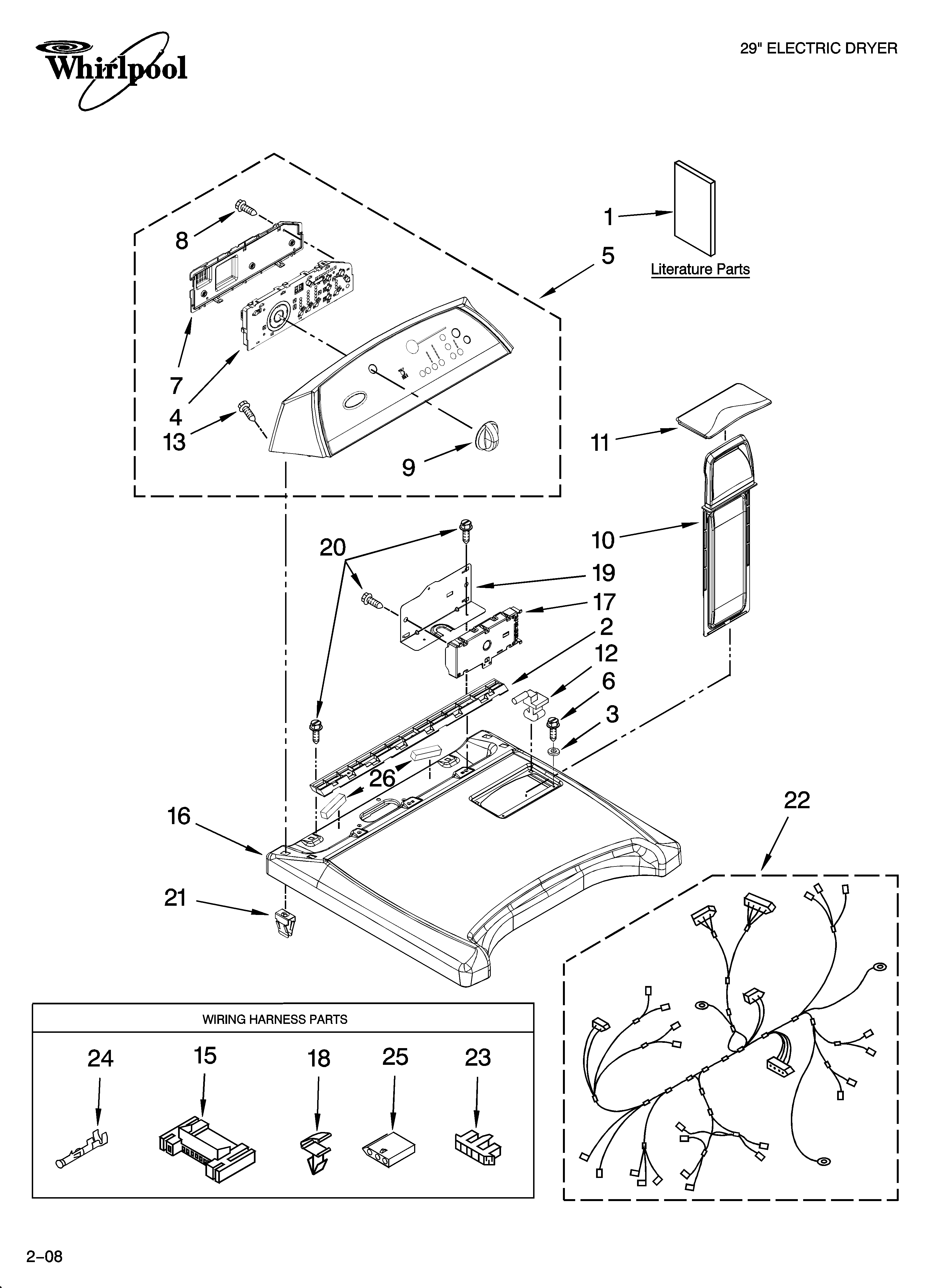 Whirlpool WED6600VW0 top and console parts diagram