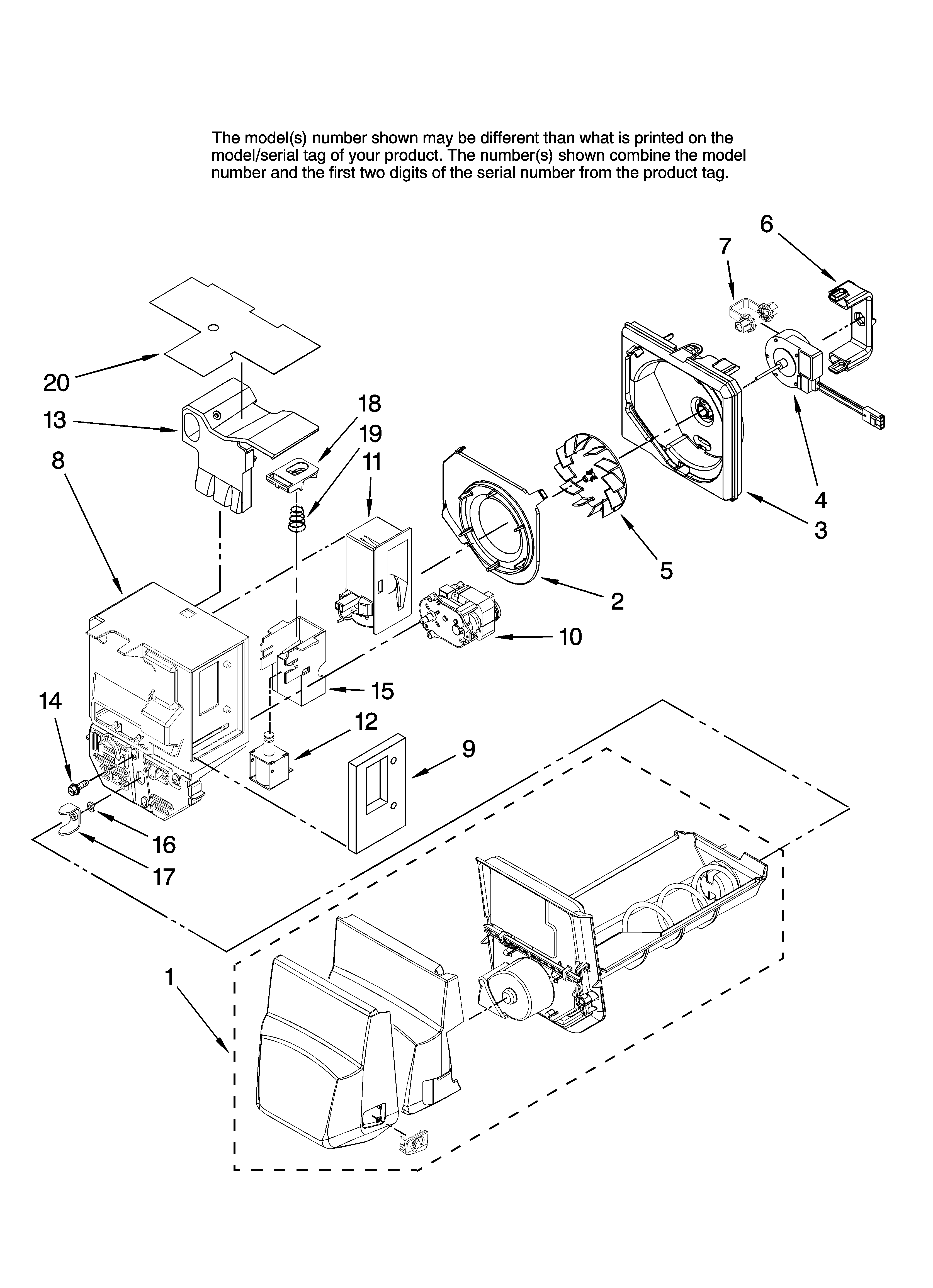 Maytag MFI2569VEM0 motor and ice container parts diagram