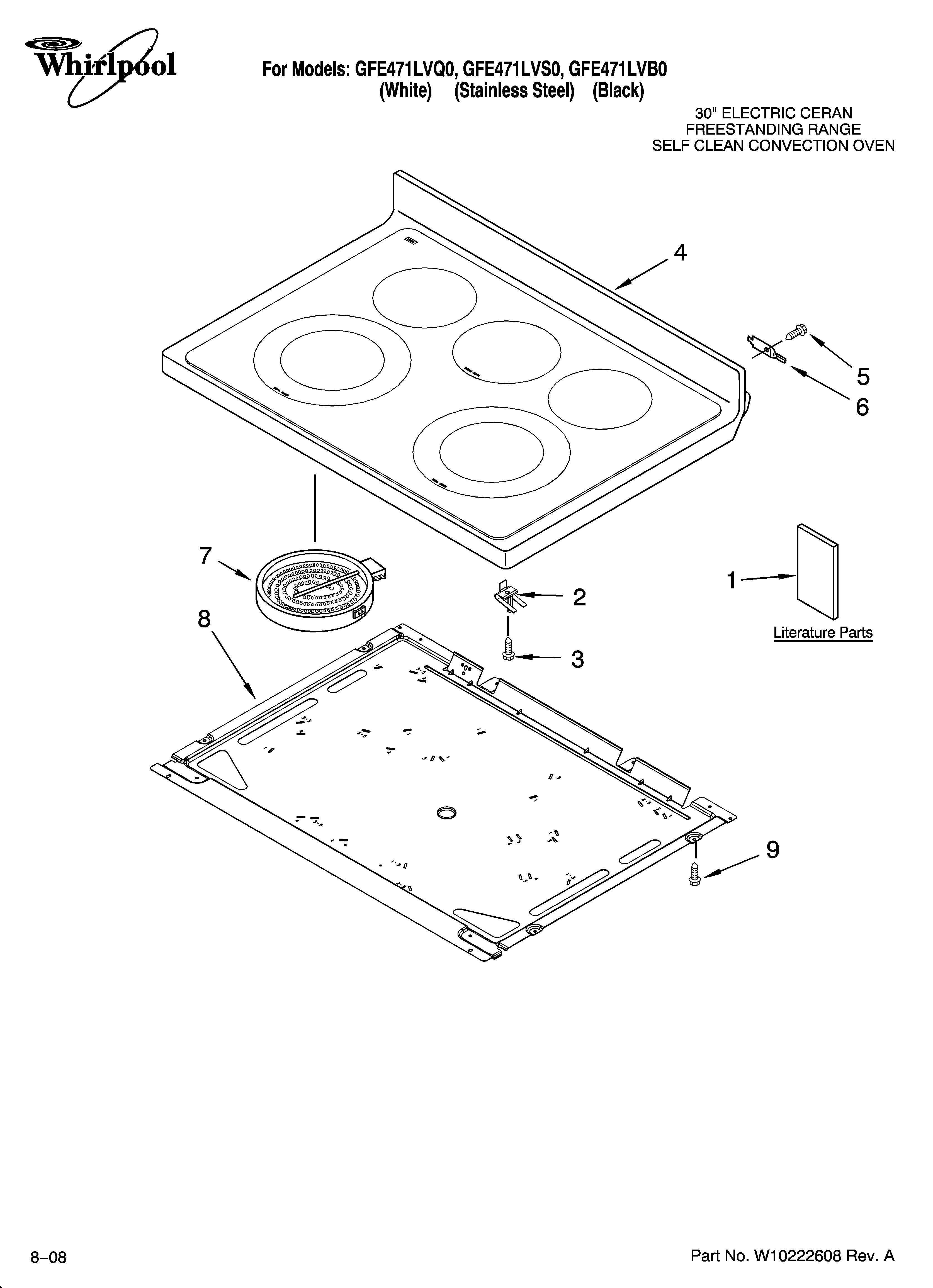 Whirlpool GFE471LVB0 cooktop parts diagram